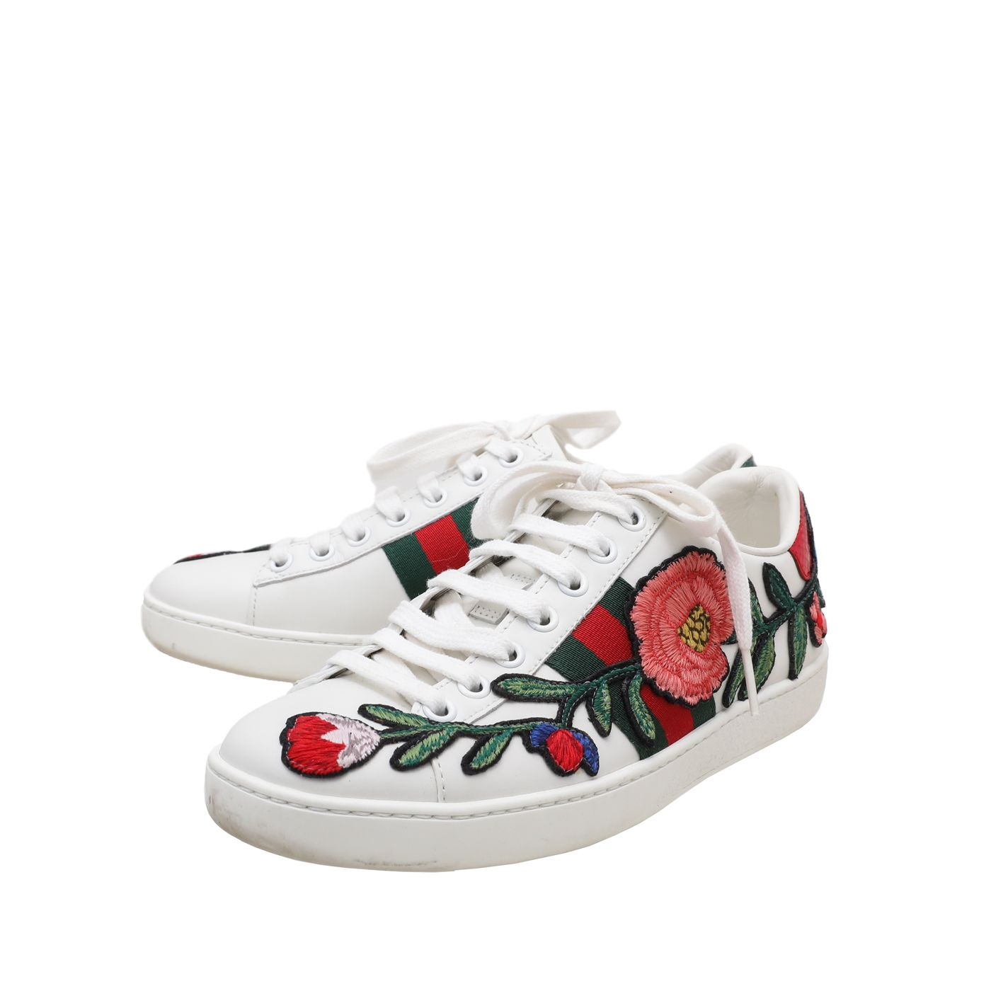Gucci White Multicolor Floral Embroidered Ace Web Sneakers 35