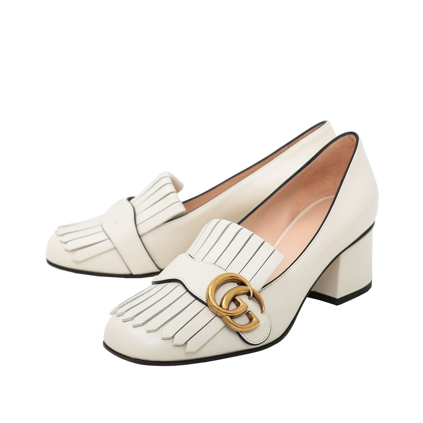 Gucci Off White Fringe Mid Heel Pump 36