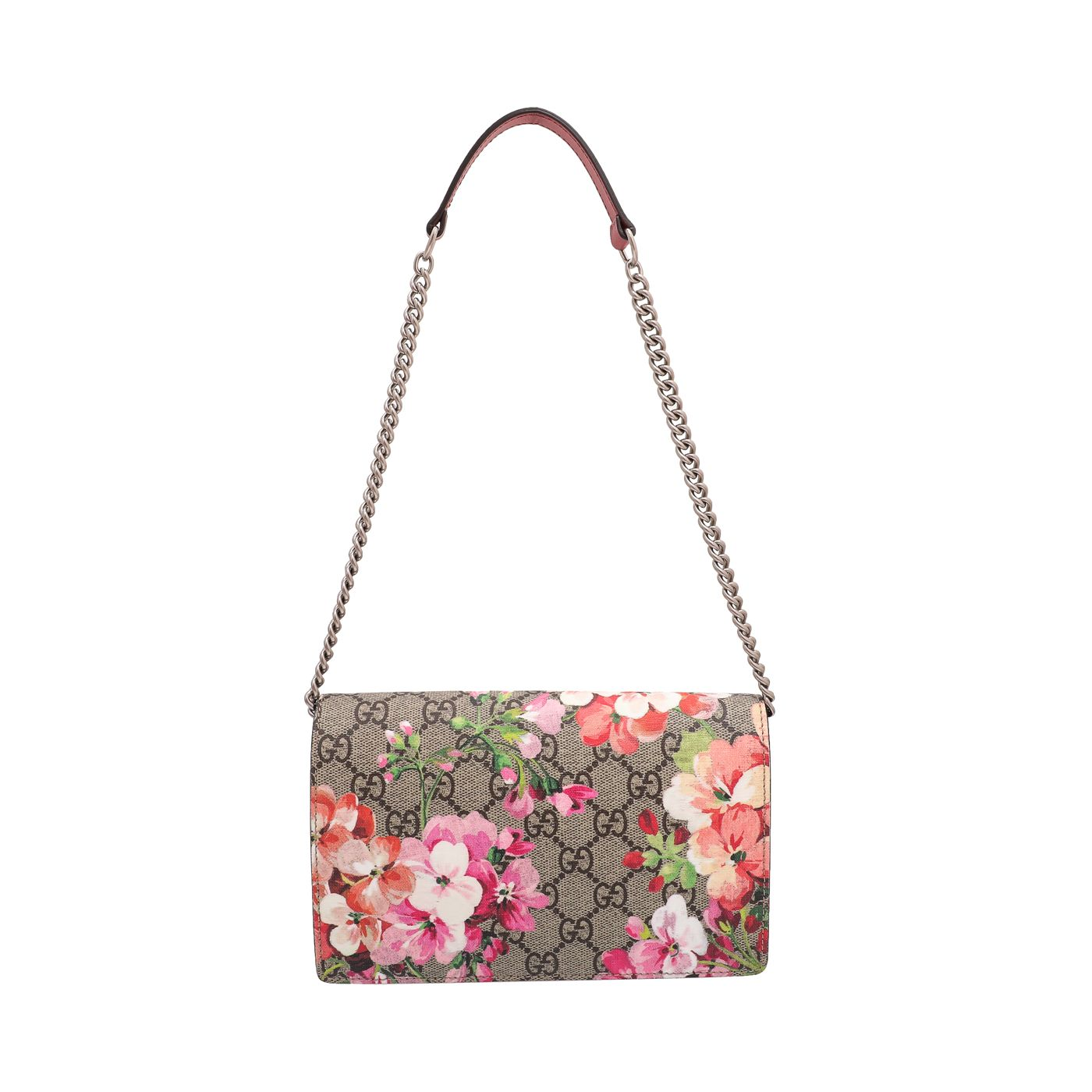 Gucci Rose Antique GG Blooms Print Chain Wallet