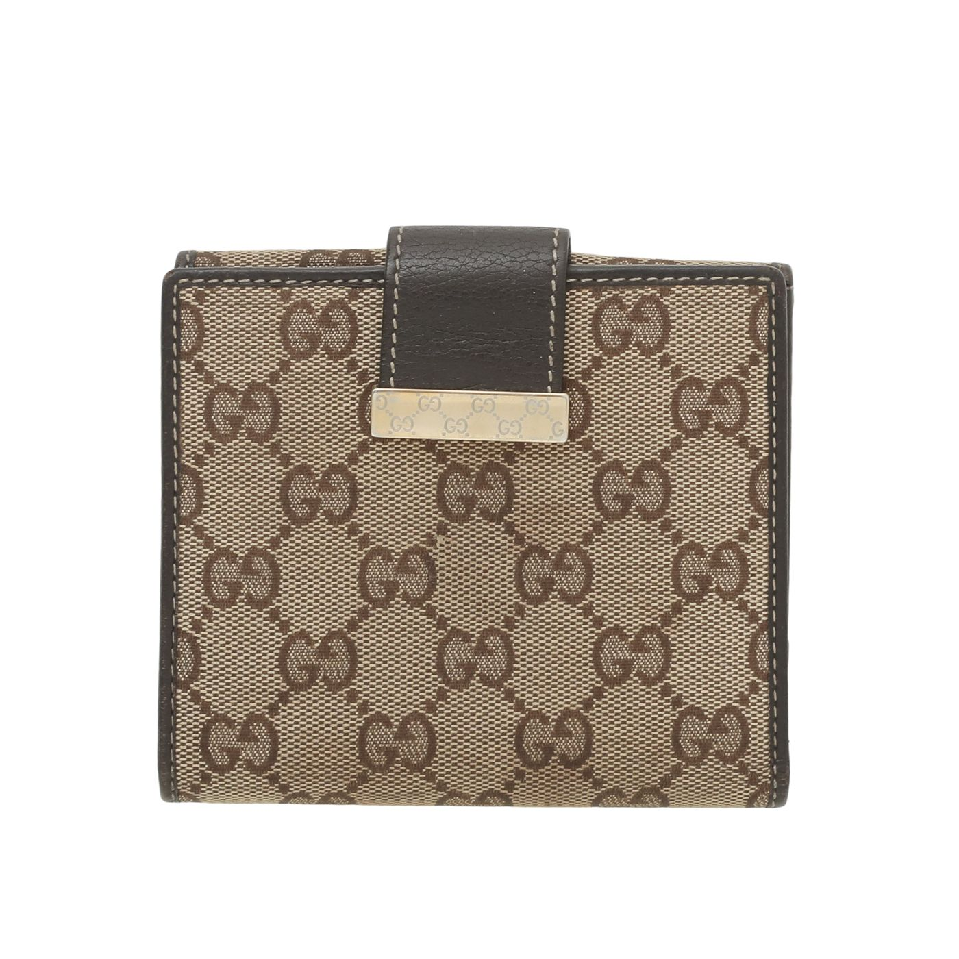 Gucci Brown GG French Flap Wallet