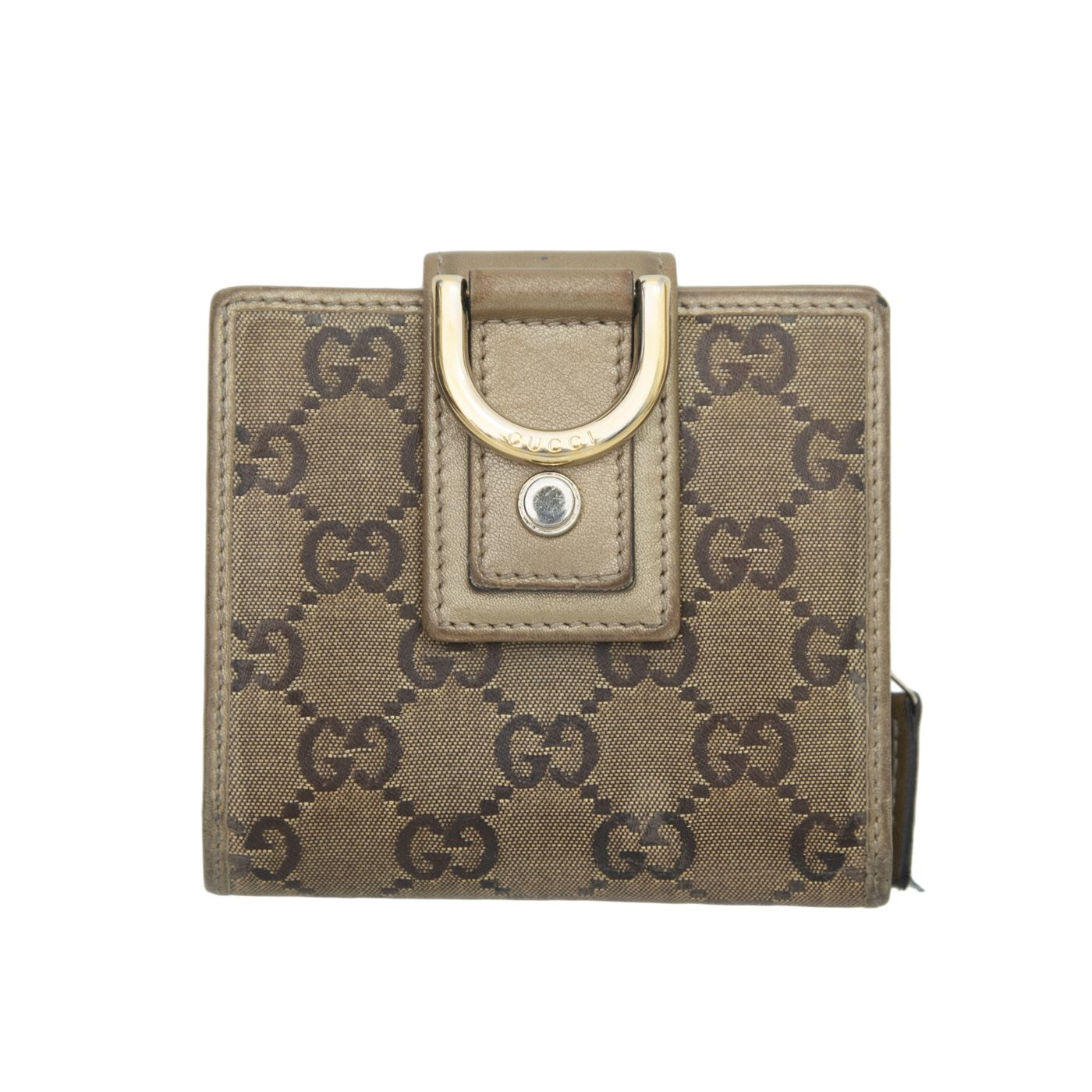 Gucci Gold GG Crystal D Ring Compact Wallet