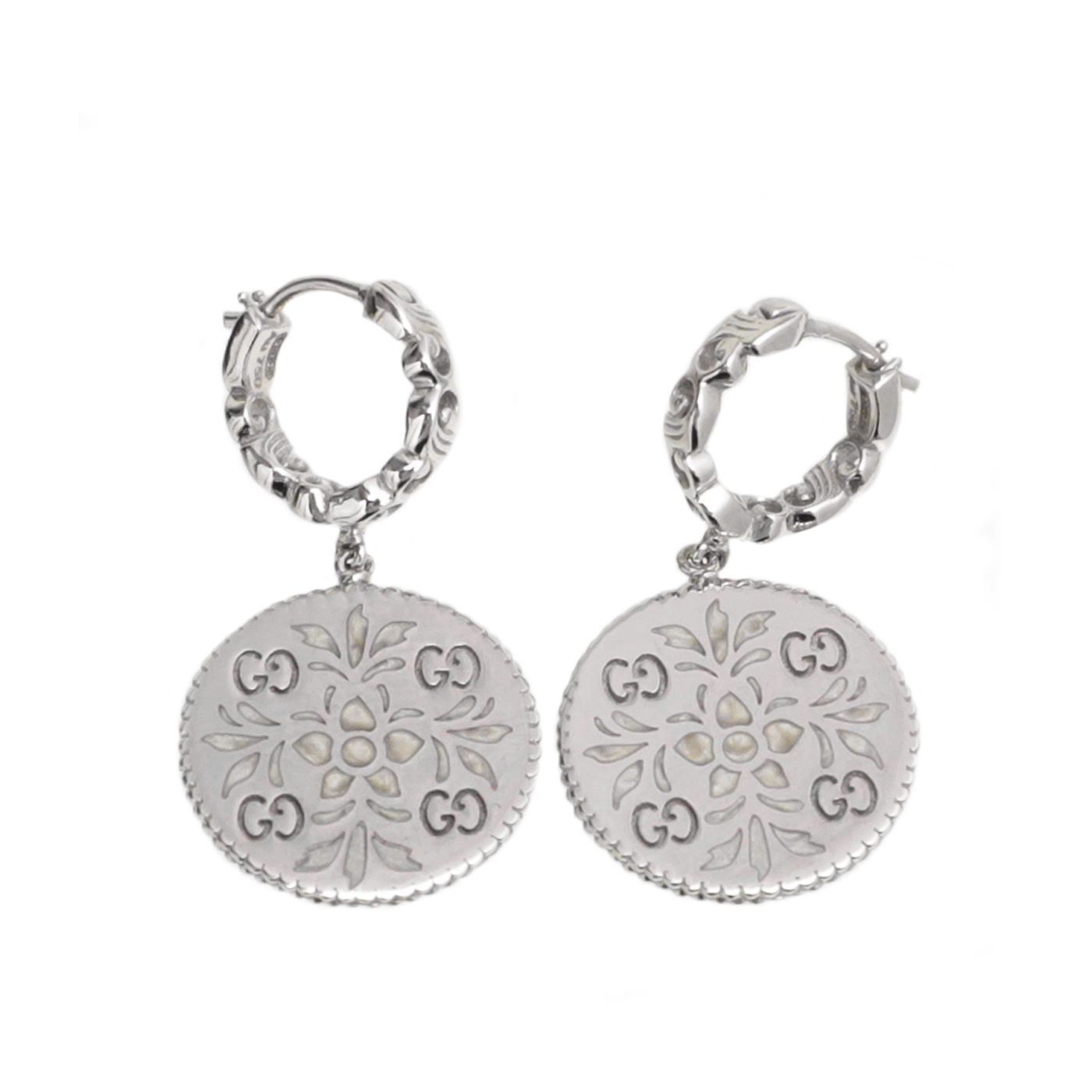 Gucci 18K White Gold GG Floral Hoop Drop Earrings