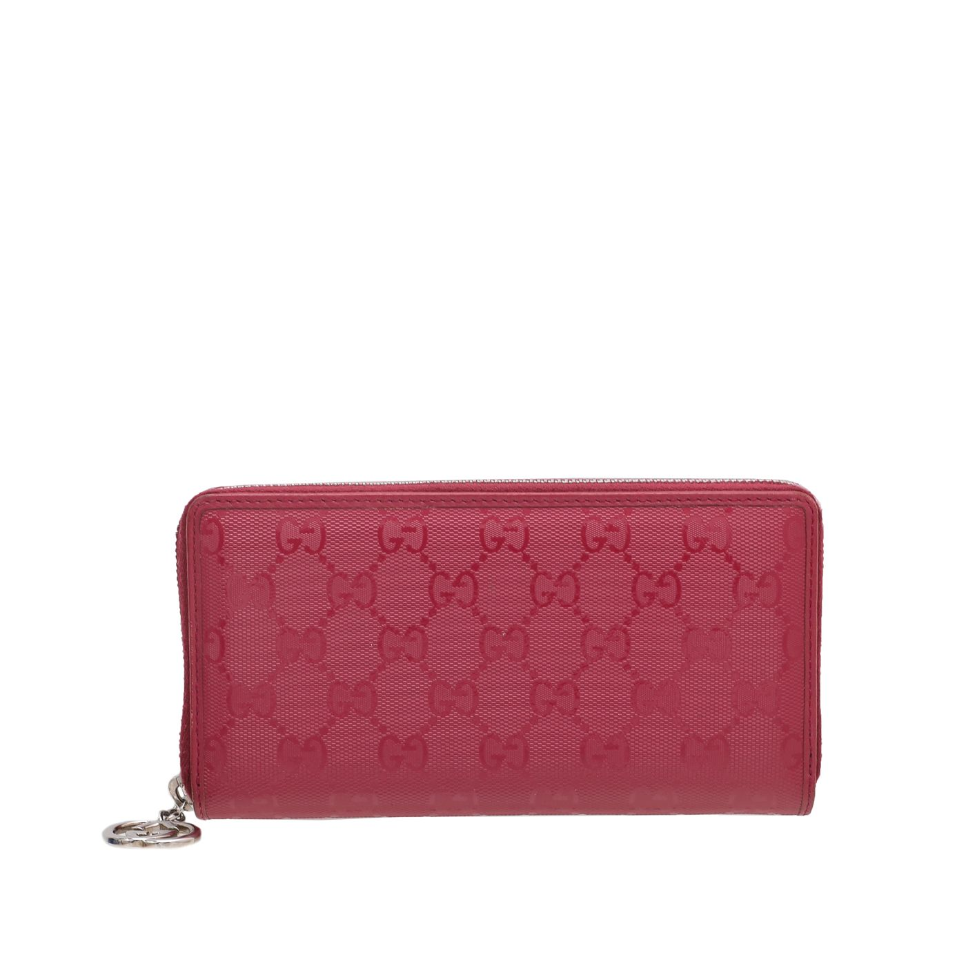 Gucci Rouge Pink GG Imprime Interlocking Charm Zipped Wallet