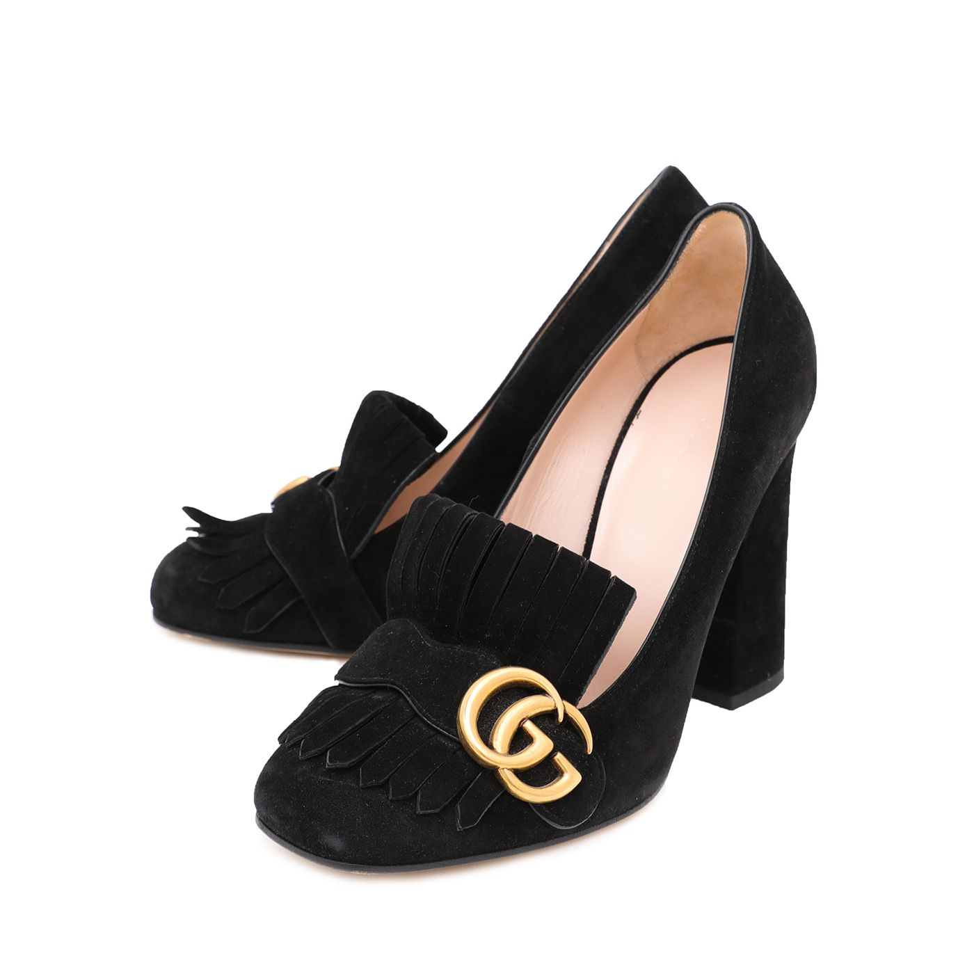 Gucci Black Suede GG Marmont Fringe Loafers Pumps 37.5
