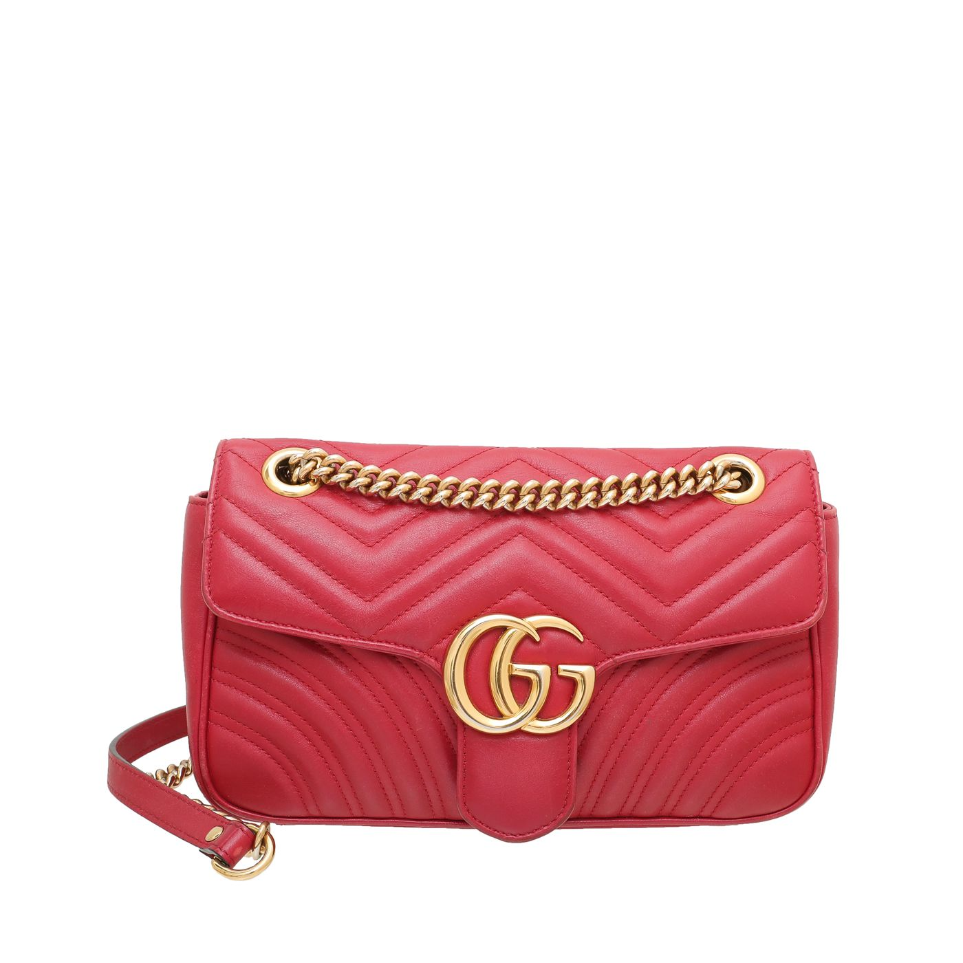 Gucci Red GG Marmont Matelasse Shoulder Bag Small