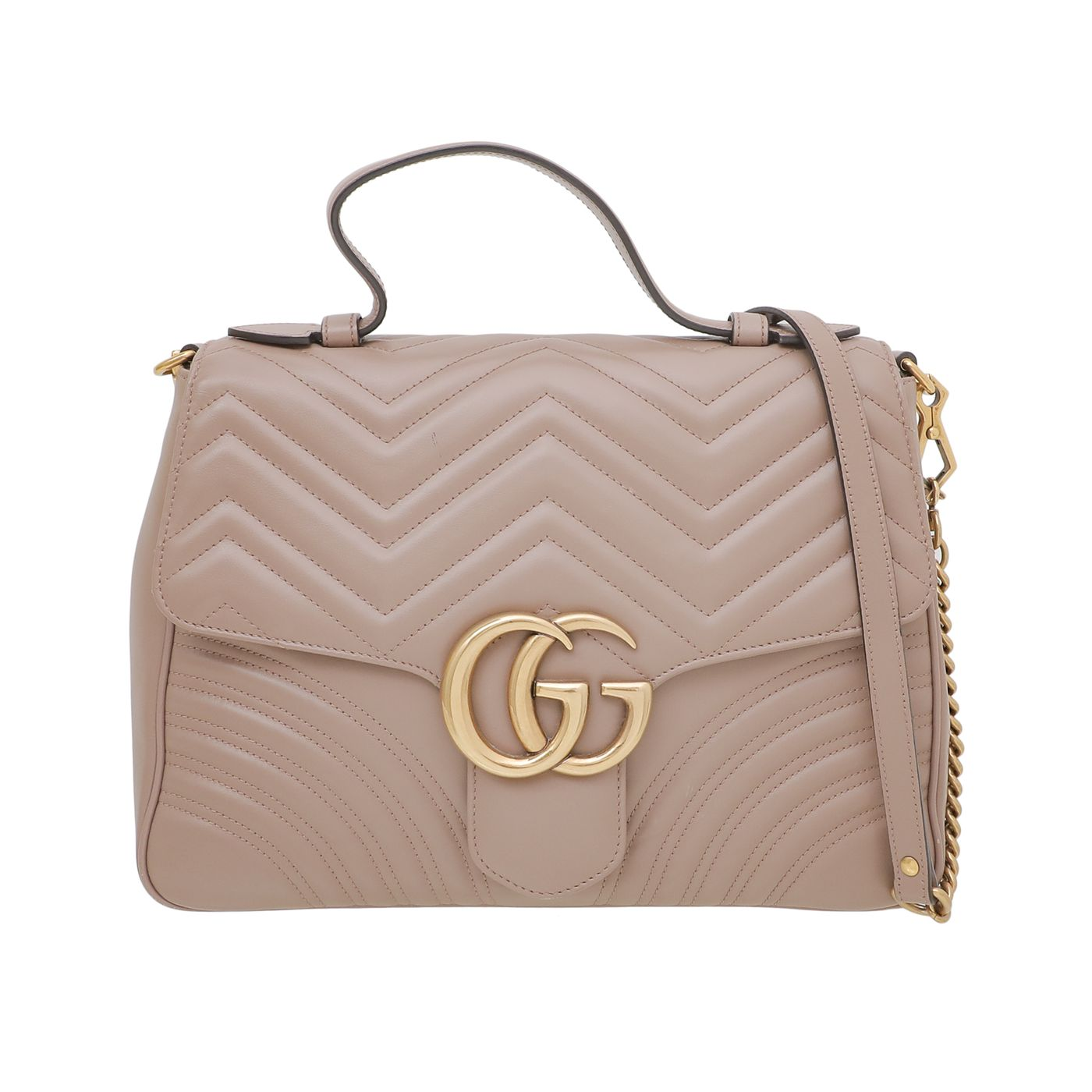 Gucci Dusty Pink GG Marmont Top Handle Bag