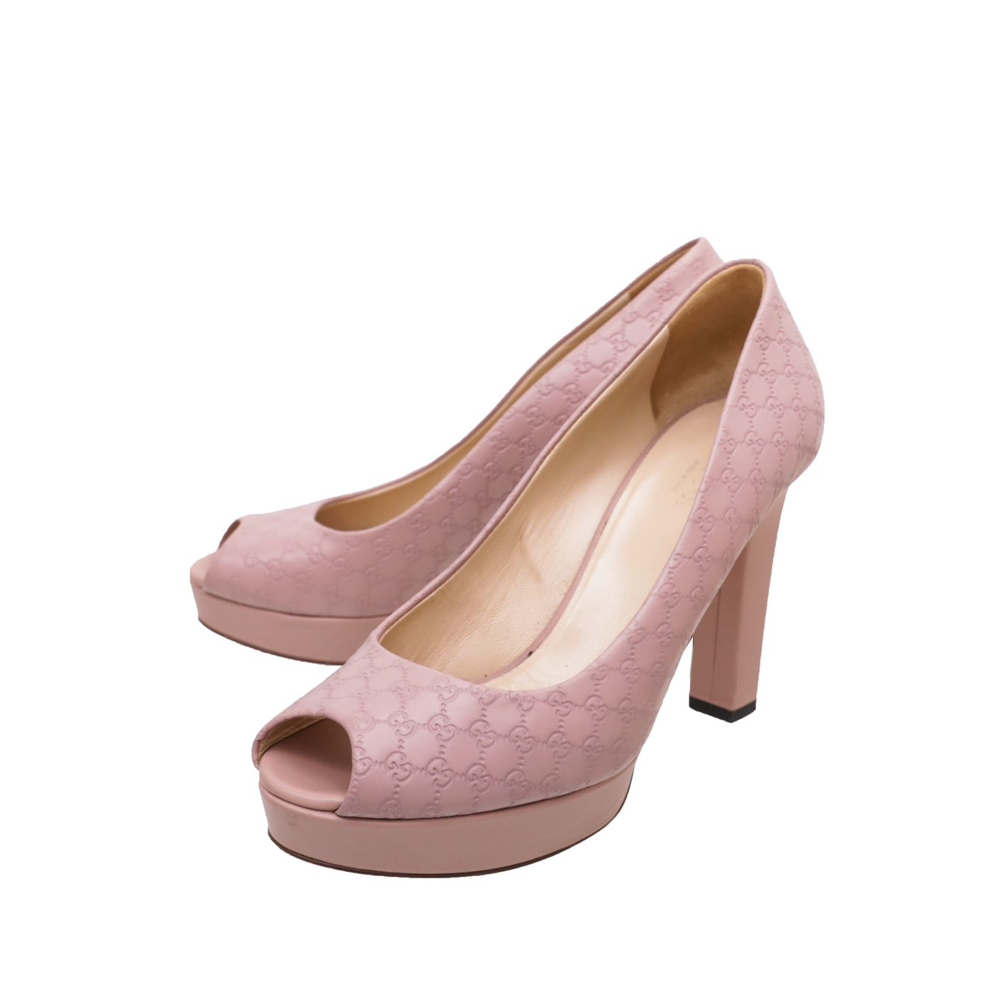 Gucci Rose Antique GG Microguccissima Peep Toe Platform Pump 38