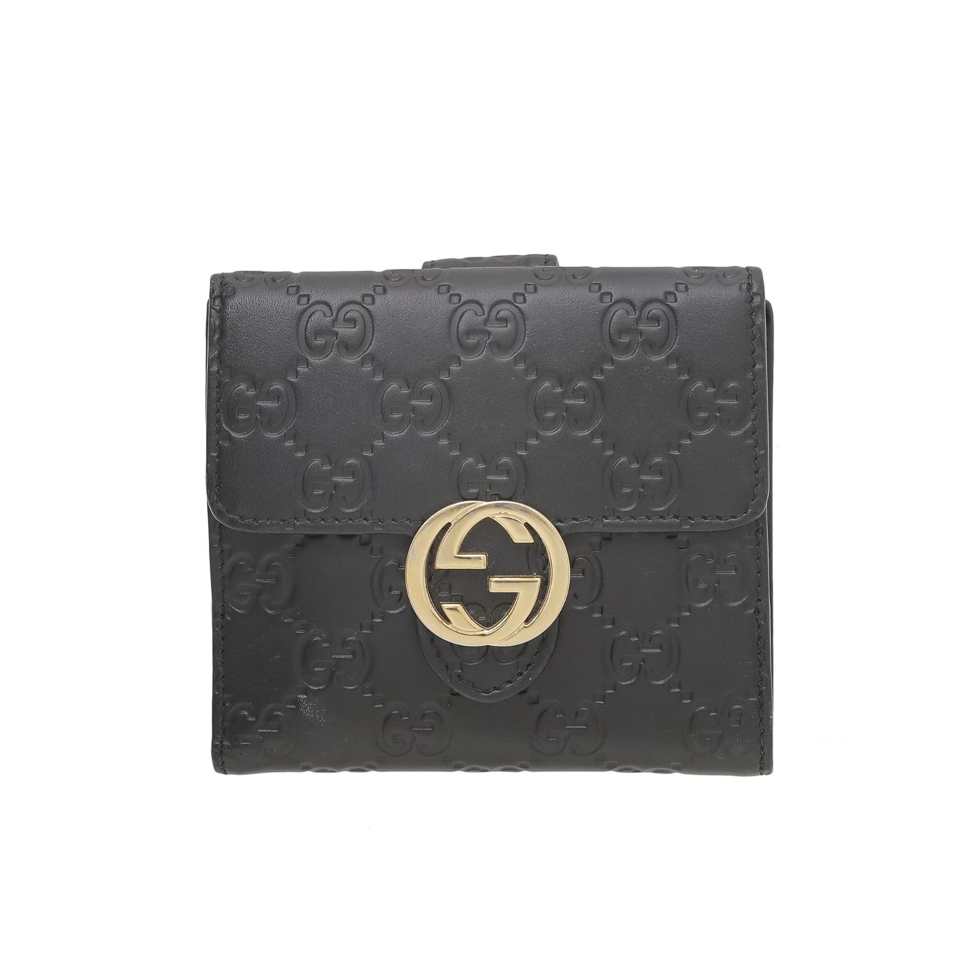 Gucci Black GG Signature Flap French Wallet