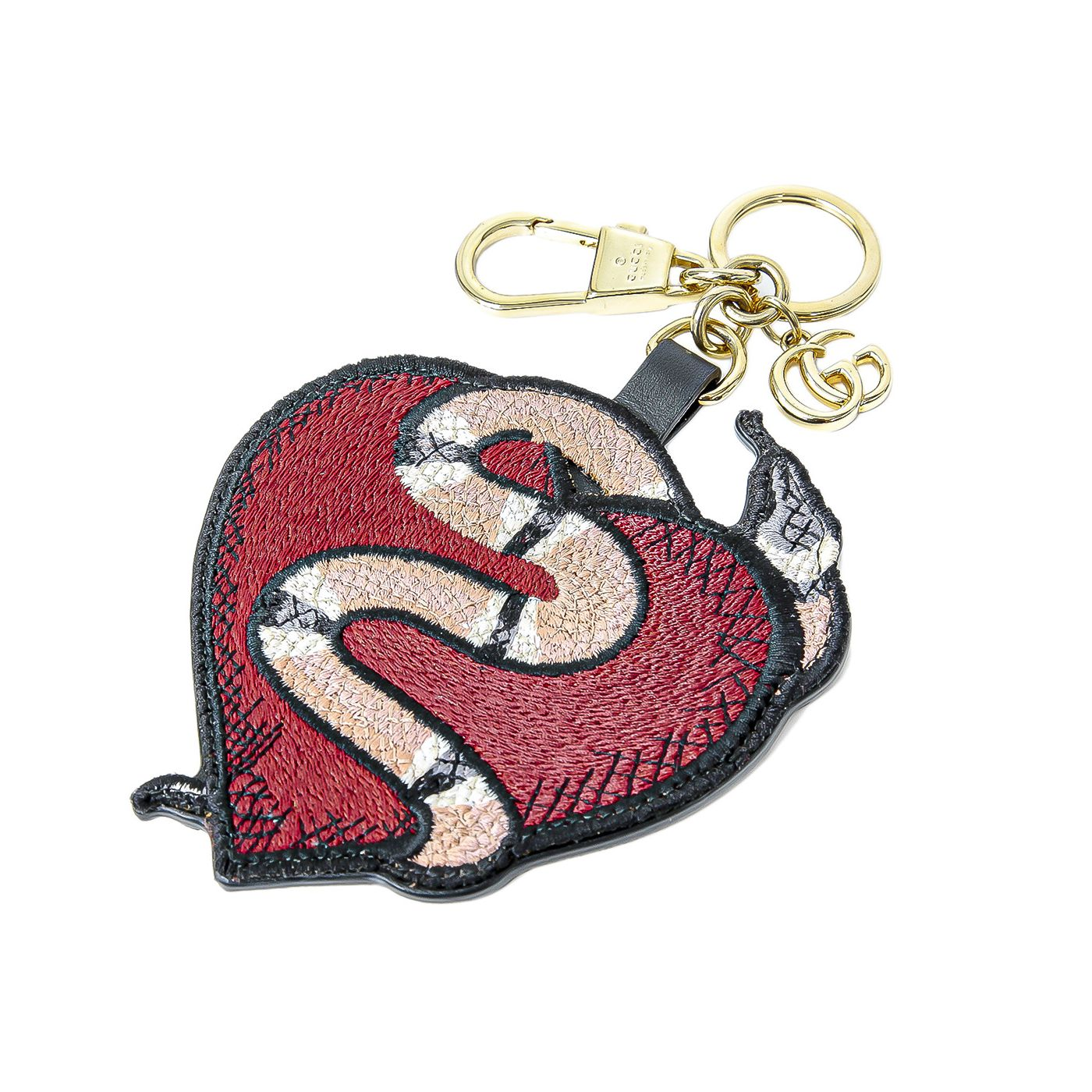 Gucci Multicolor Heart Snake Embroidered Key Chain