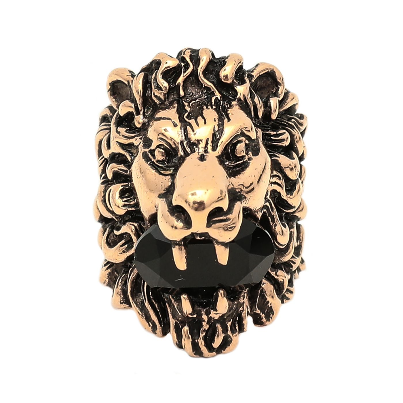 Gucci Aged Gold Finish Lion Head Black Crystal Ring 13