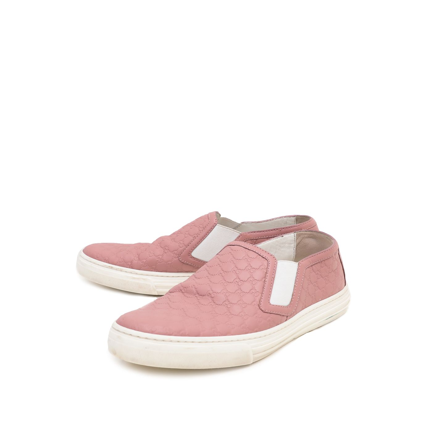 Gucci Dusty Pink Microguccissima Slip On Sneakers 36
