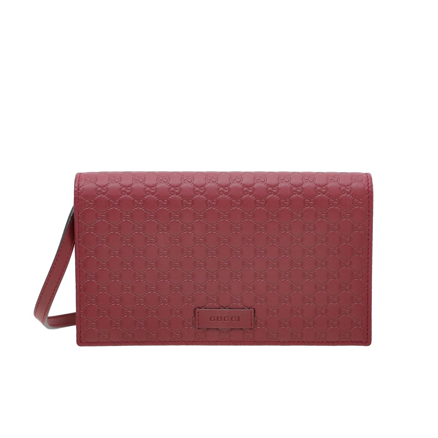 Gucci Red Microguccissima Wallet On Strap