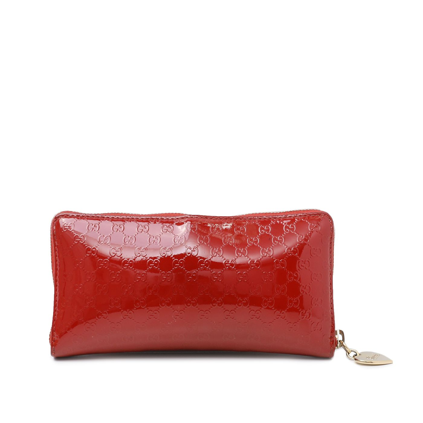 Gucci microguccissima heart zip around wallet red
