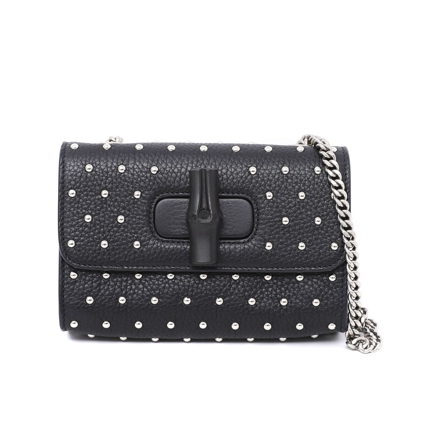 Gucci Black Miss Bamboo Studded Chain Bag