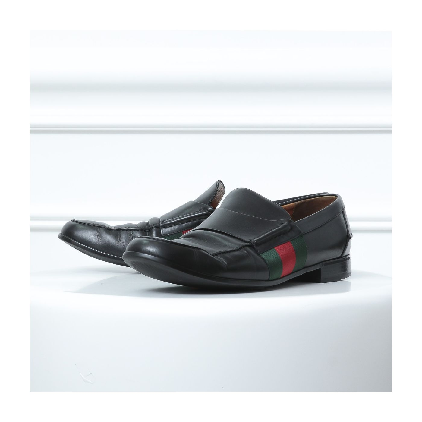 Gucci Black Web Moccasins Loafers 10.5