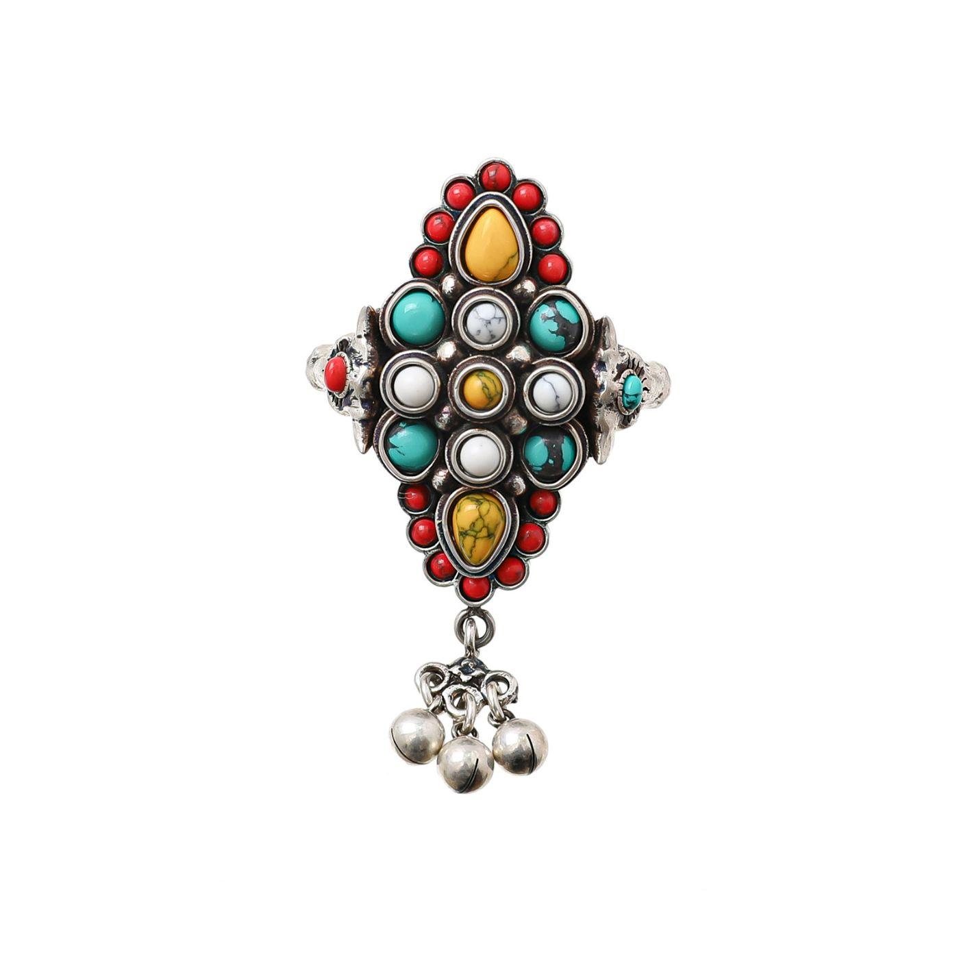 Gucci Silver / Multicolor Beads Anger Forest Ring 14