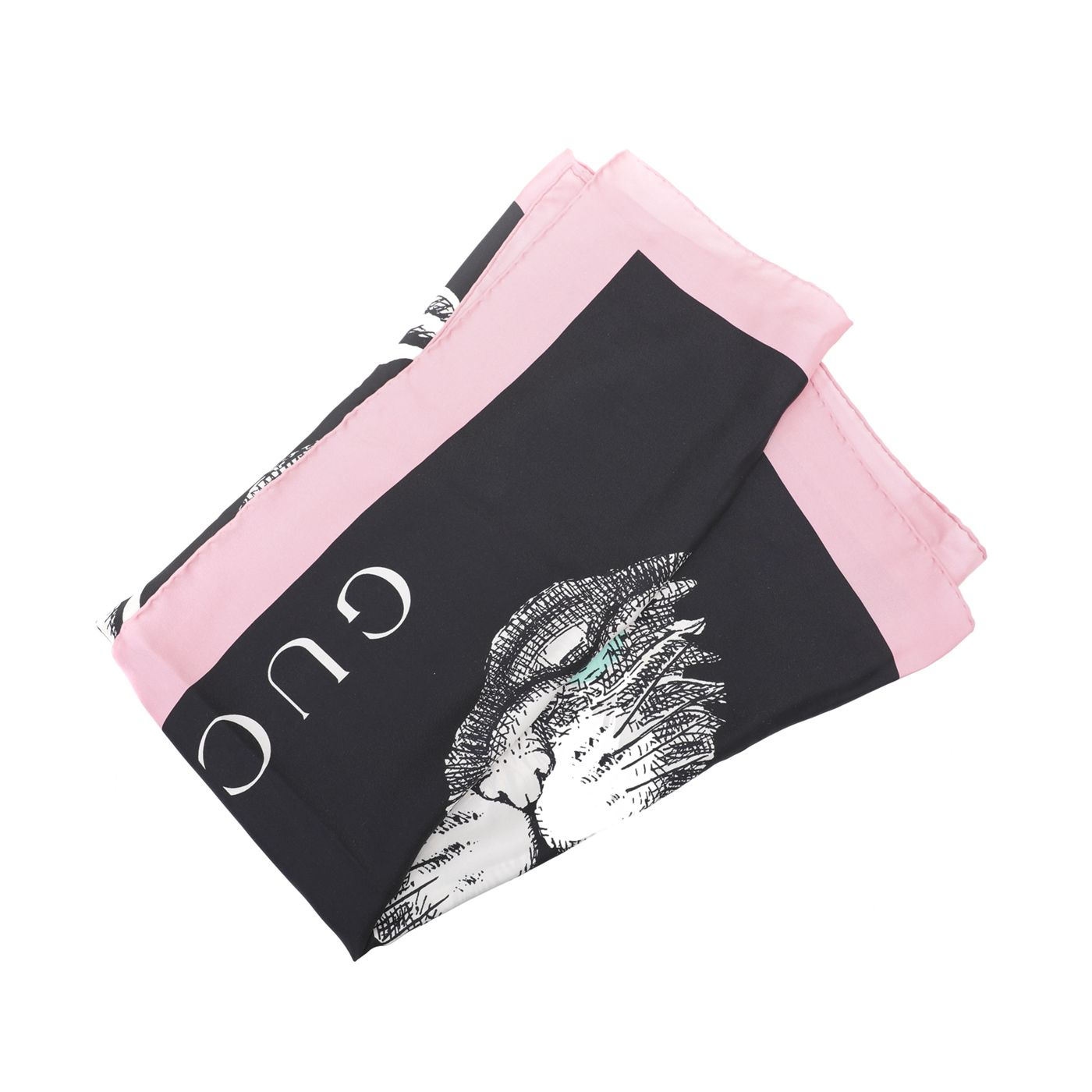 Gucci Bicolor Mystic Cat Print Silk Square Scarf