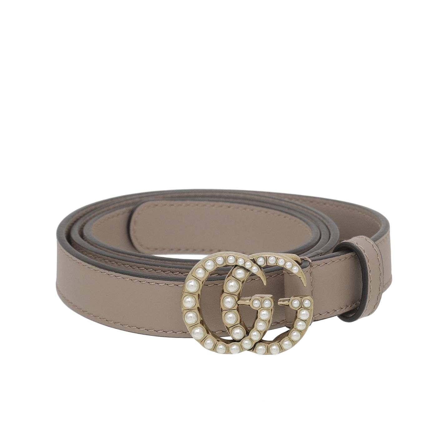 Gucci Nude Pink Pearl GG Marmont Buckle Belt 34