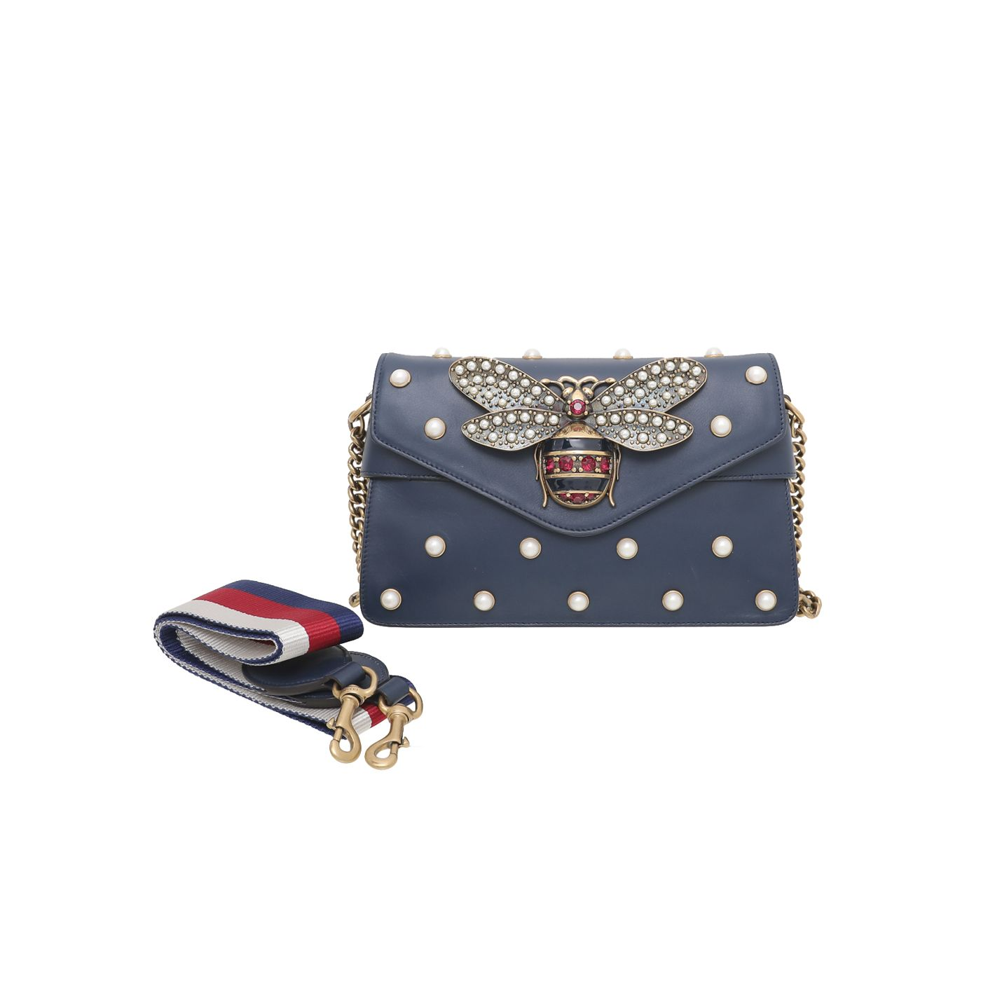 Gucci Blue Pearl Queen Margaret Studded Mini Broadway Bag