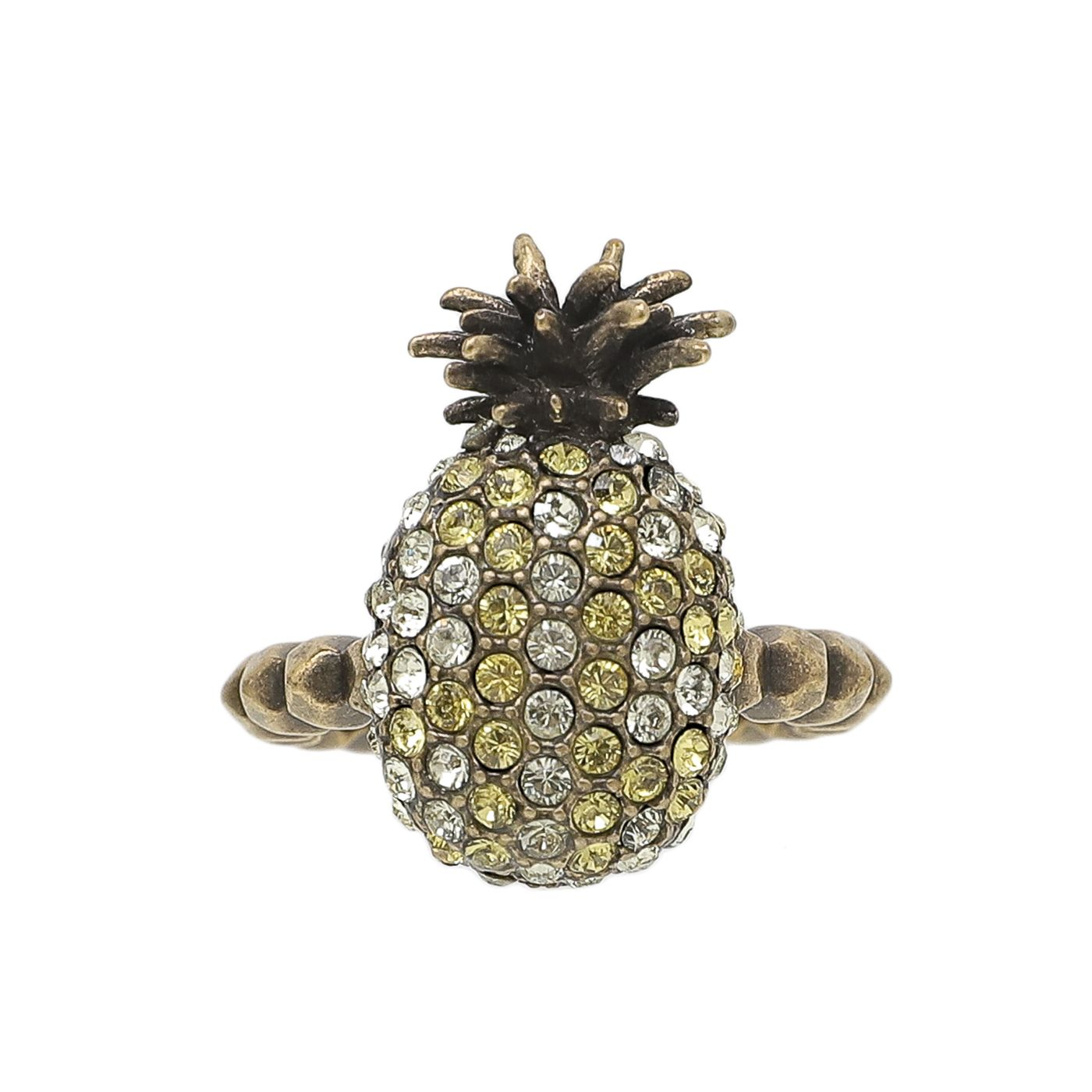 Gucci Yellow/White/Strass Pineapple Motif W/ Crystal Ring