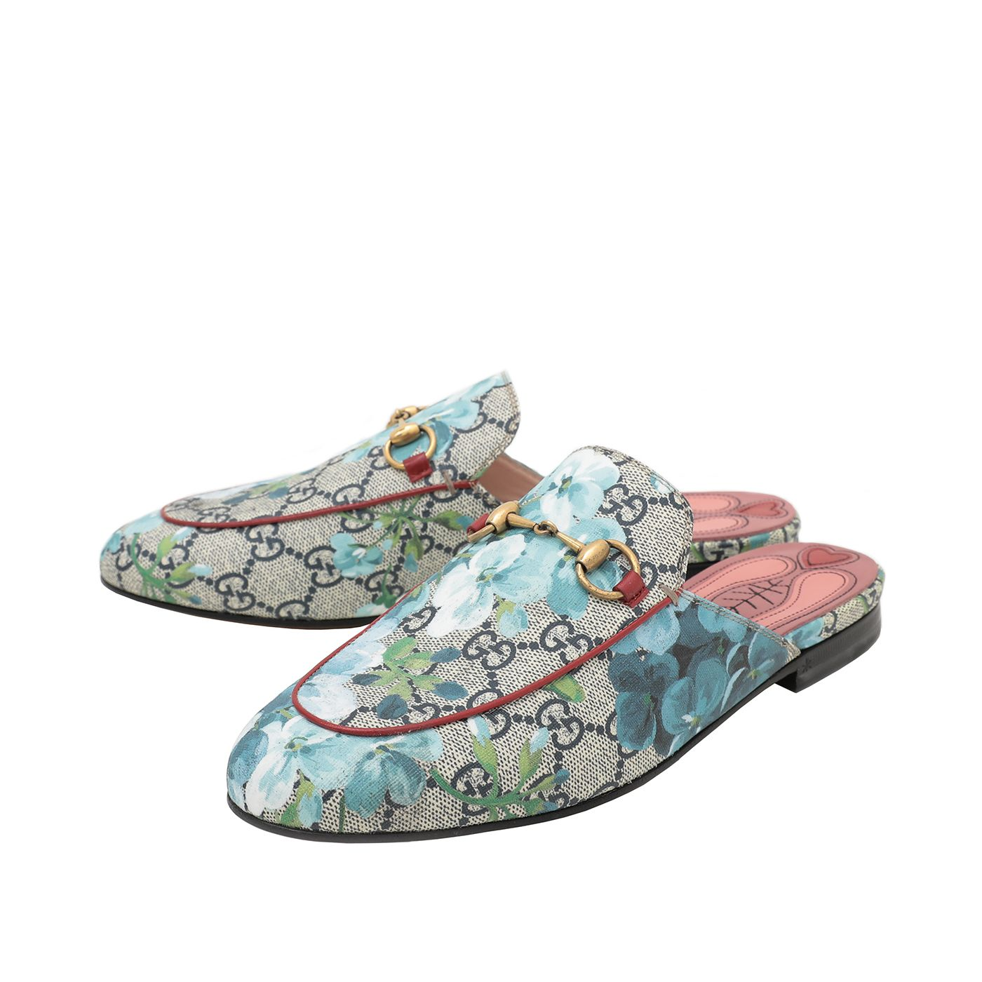 Gucci Blue GG Blooms Princetown Mules  37