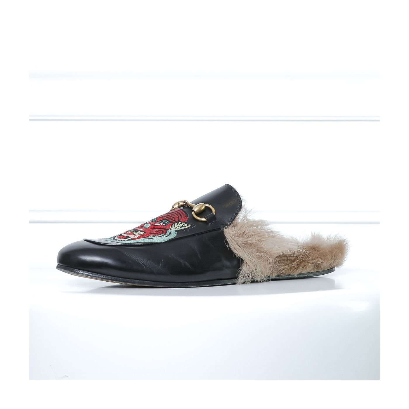 Gucci Black UFO & Tiger Applique Princetown Men's Slippers 9