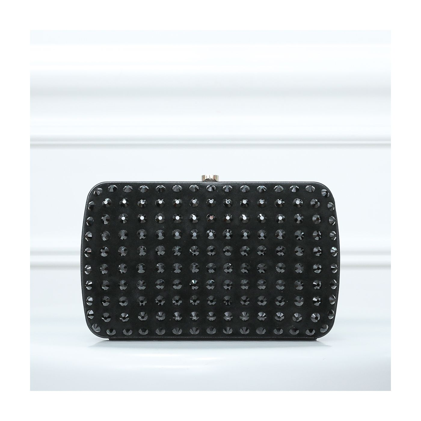 Gucci Black Soiree Studded Suede Clutch