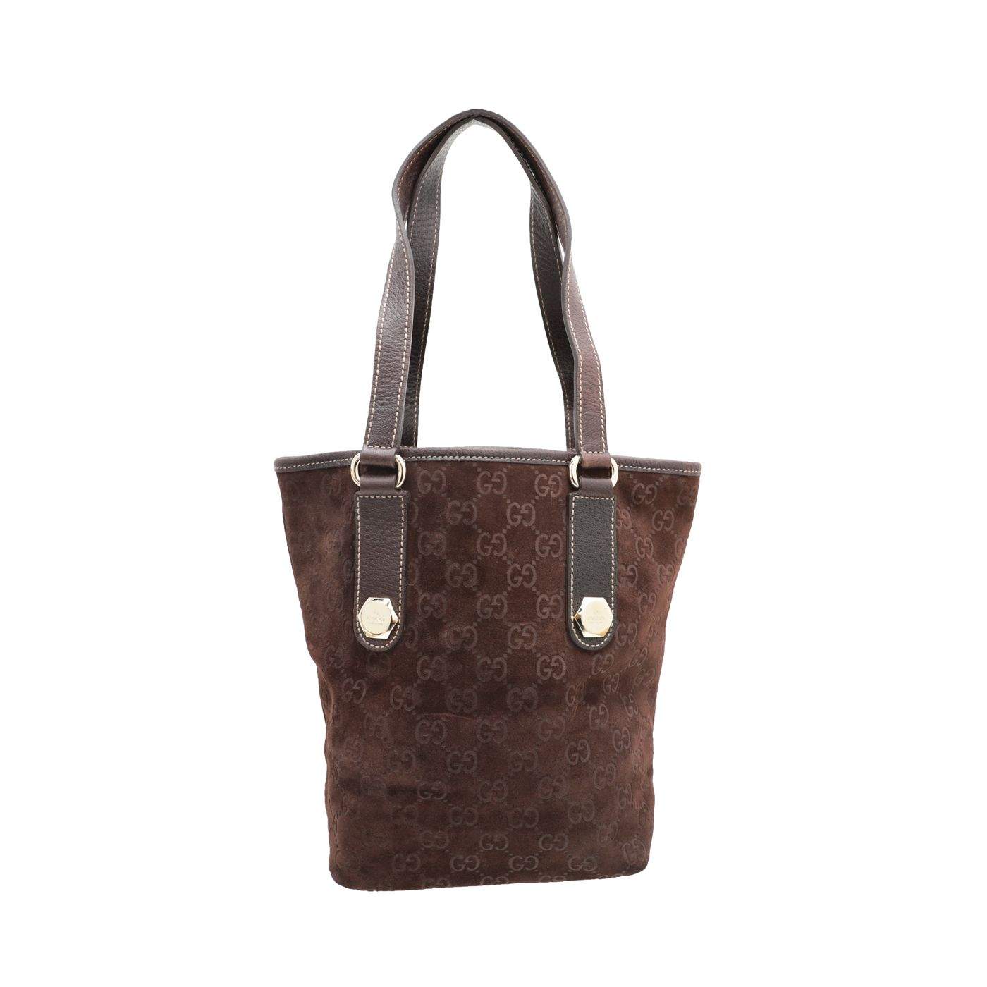 Gucci Brown GG Suede Charmy Tote Bag