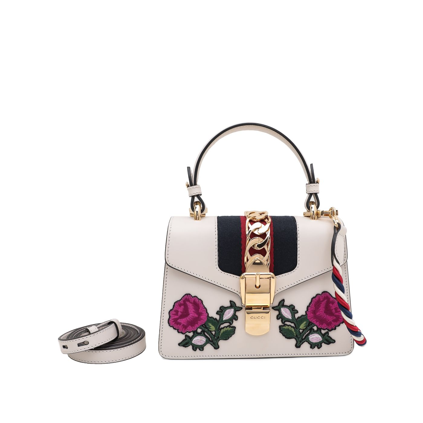 Gucci White Sylvie Floral Embroidered Bag