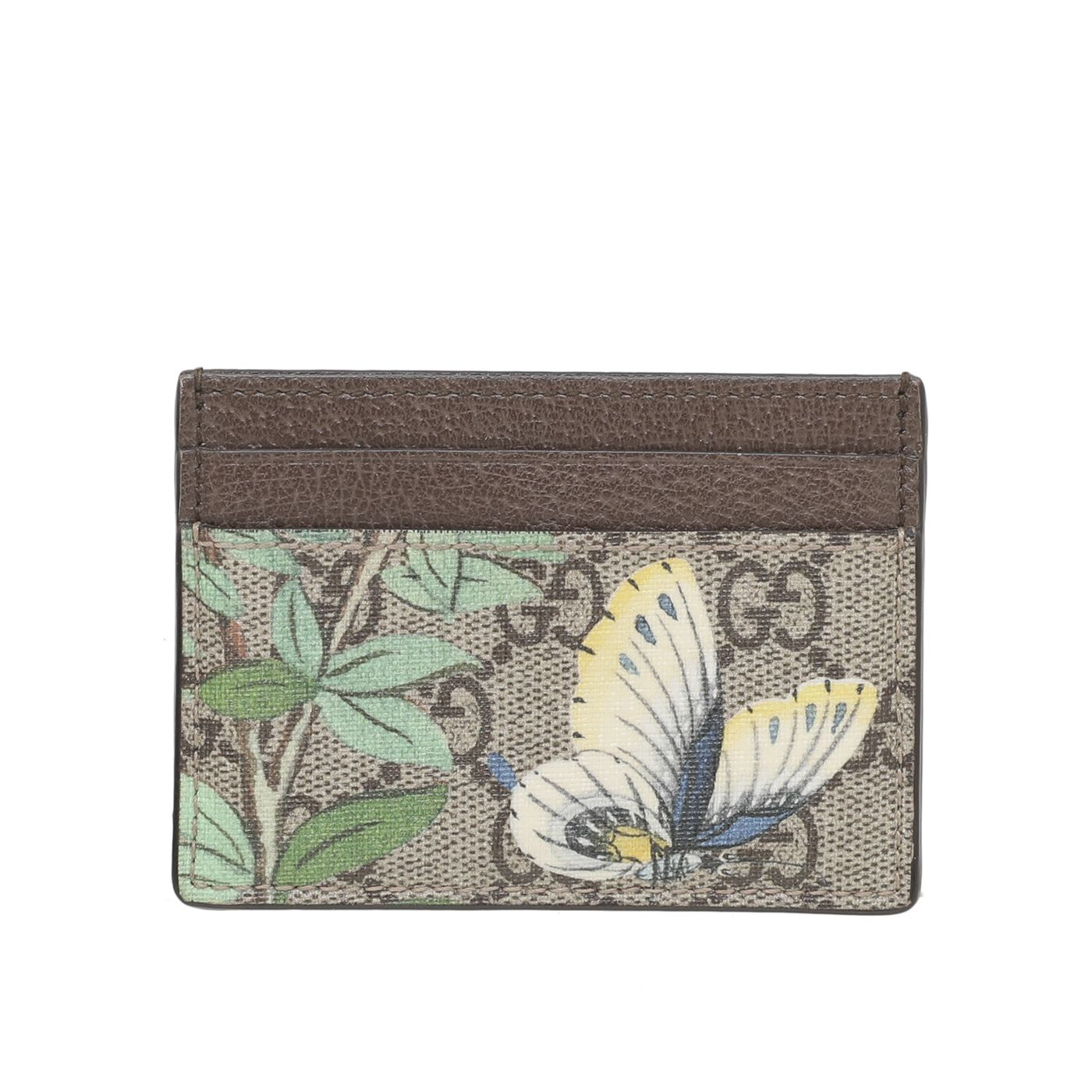 Gucci Brown Multicolor Tian Butterfly Card Holder