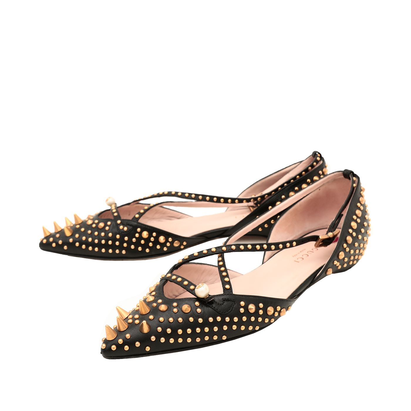 Gucci Black Unia Studded Flats 36.5