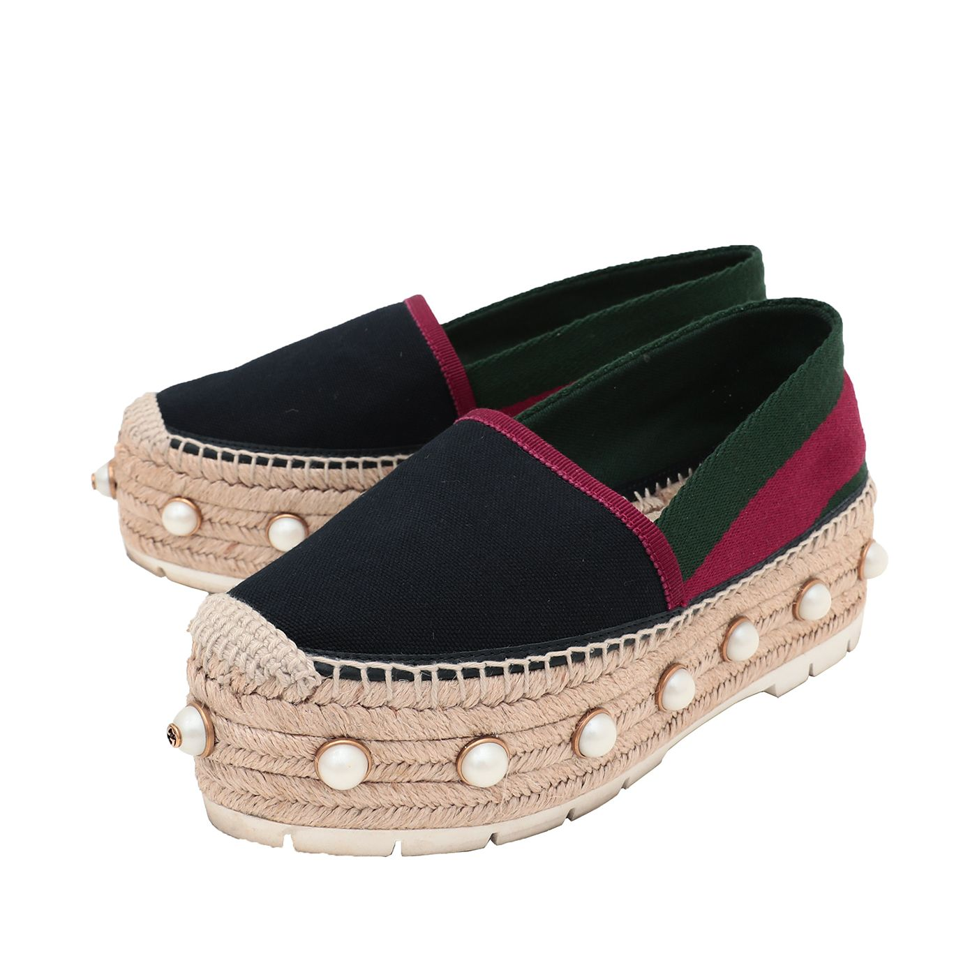 Gucci Tricolor Web Linen Pearl Studded Espadrille 37