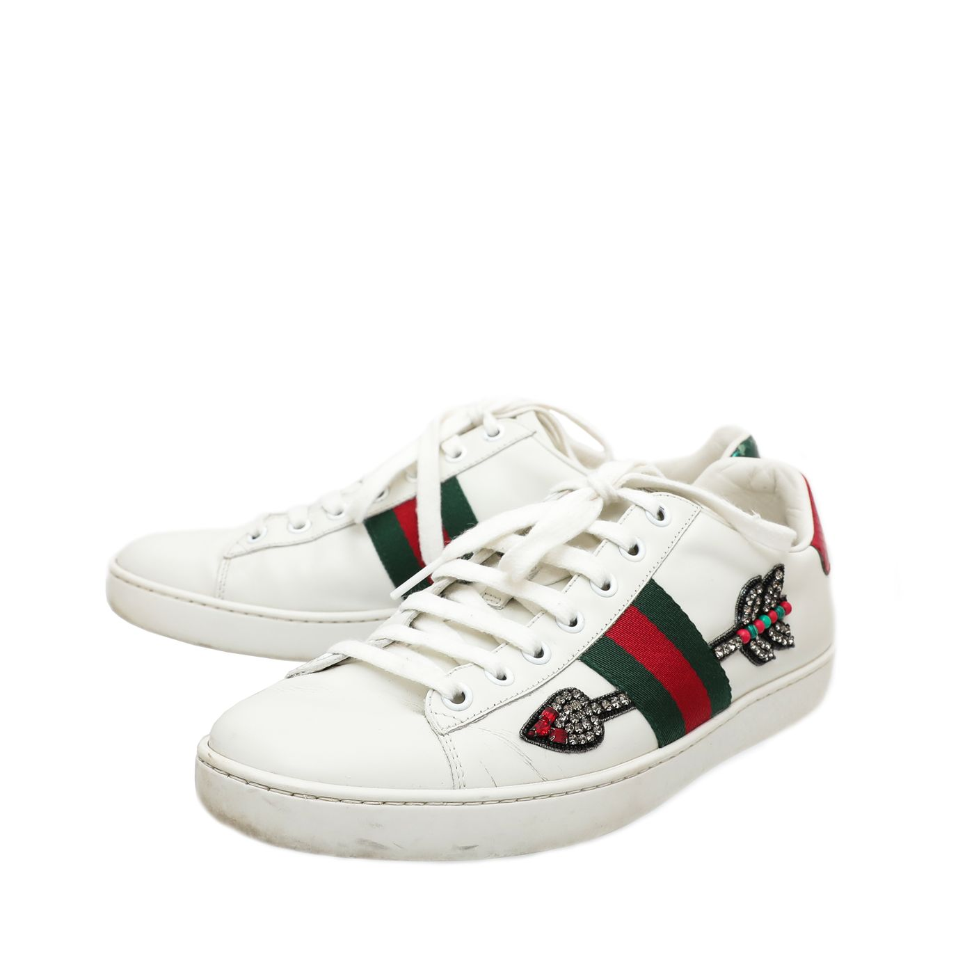 Gucci White Ace Arrow Embroidered Sneakers 39
