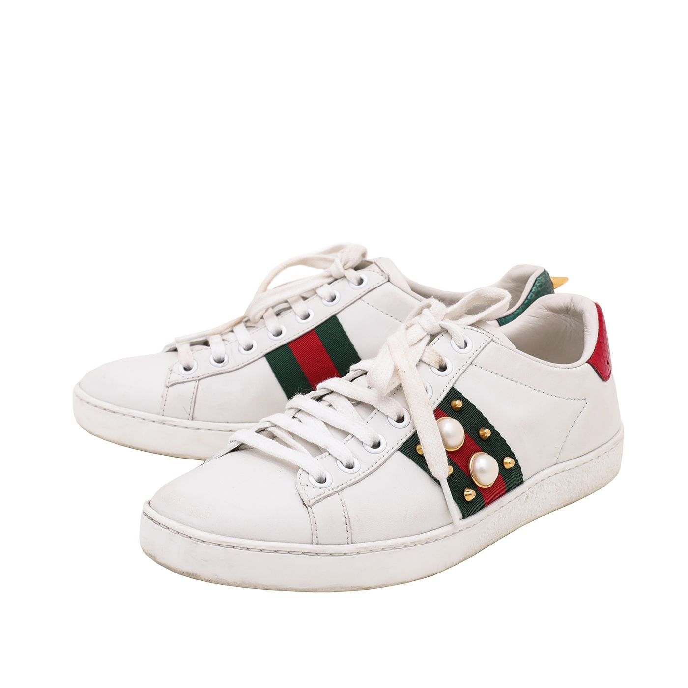 Gucci White Women's Ace Studded Pearl and Spike Sneakers 36