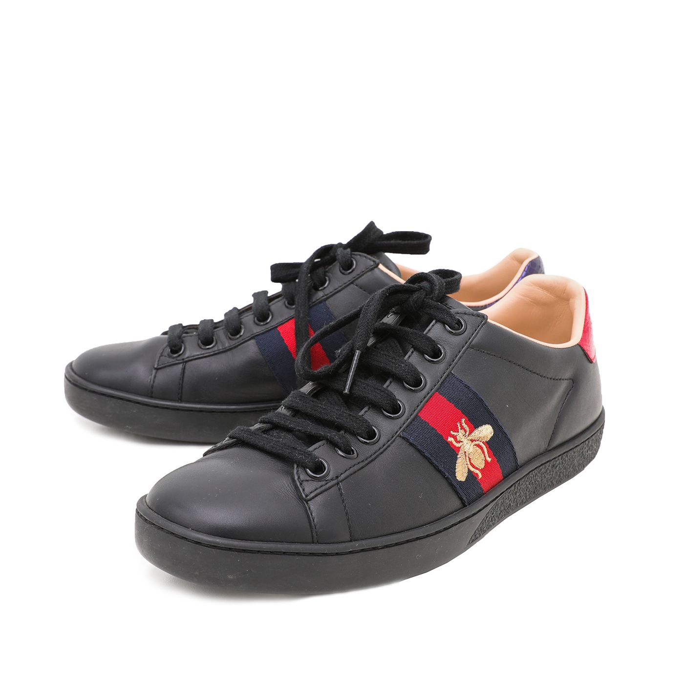 Gucci Black Women's Ace Bee Embroidered Sneakers 36.5