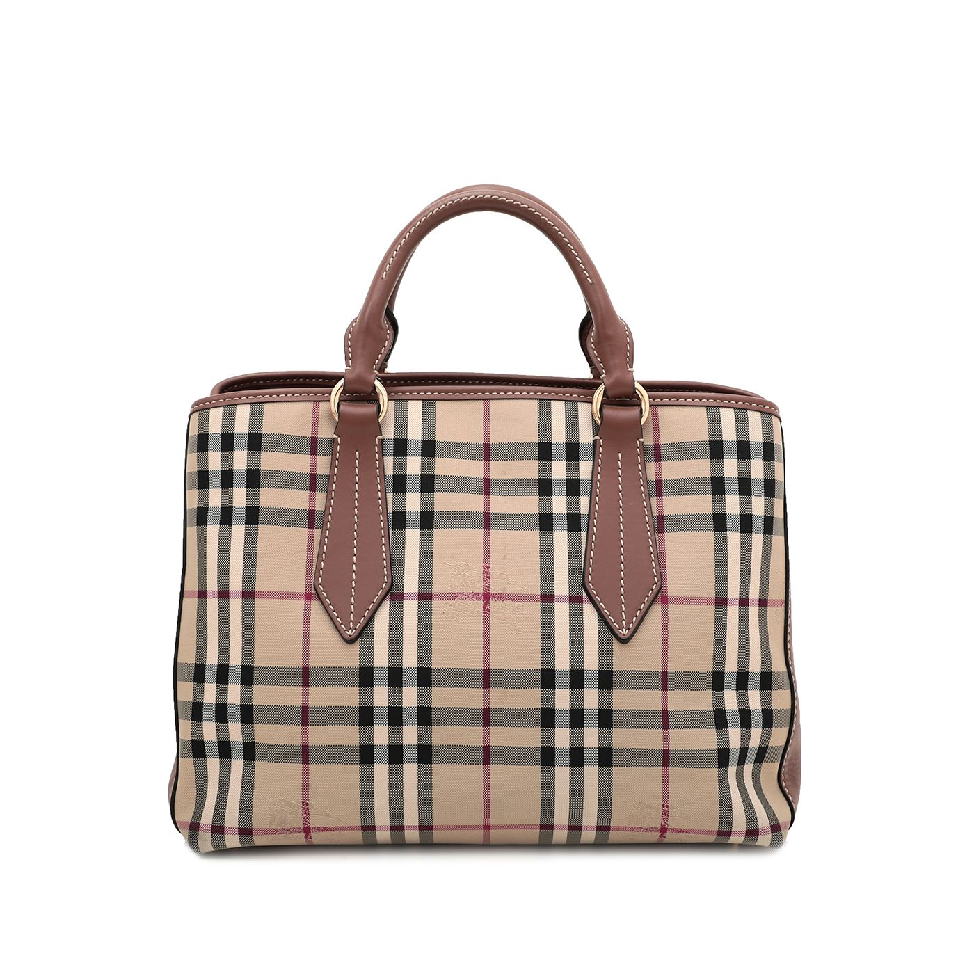 Burberry Haymarket Check Ballingdon Contrast Stitch Tote Bag Medium