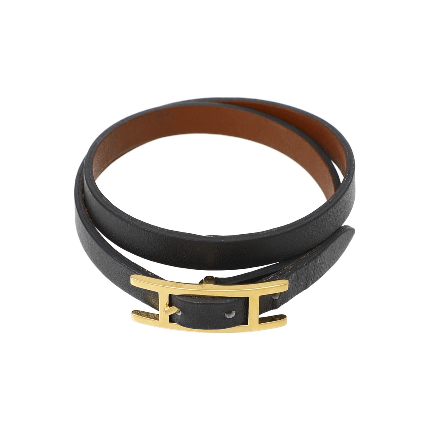 Hermes Noir Behapi Double Tour Bracelet