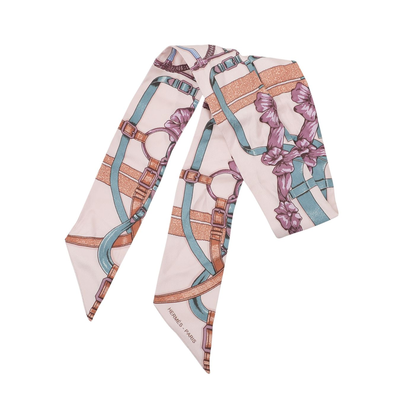 Hermes Light Peach Multicolor Braided Floral & Buckle Print Twilly Scarf