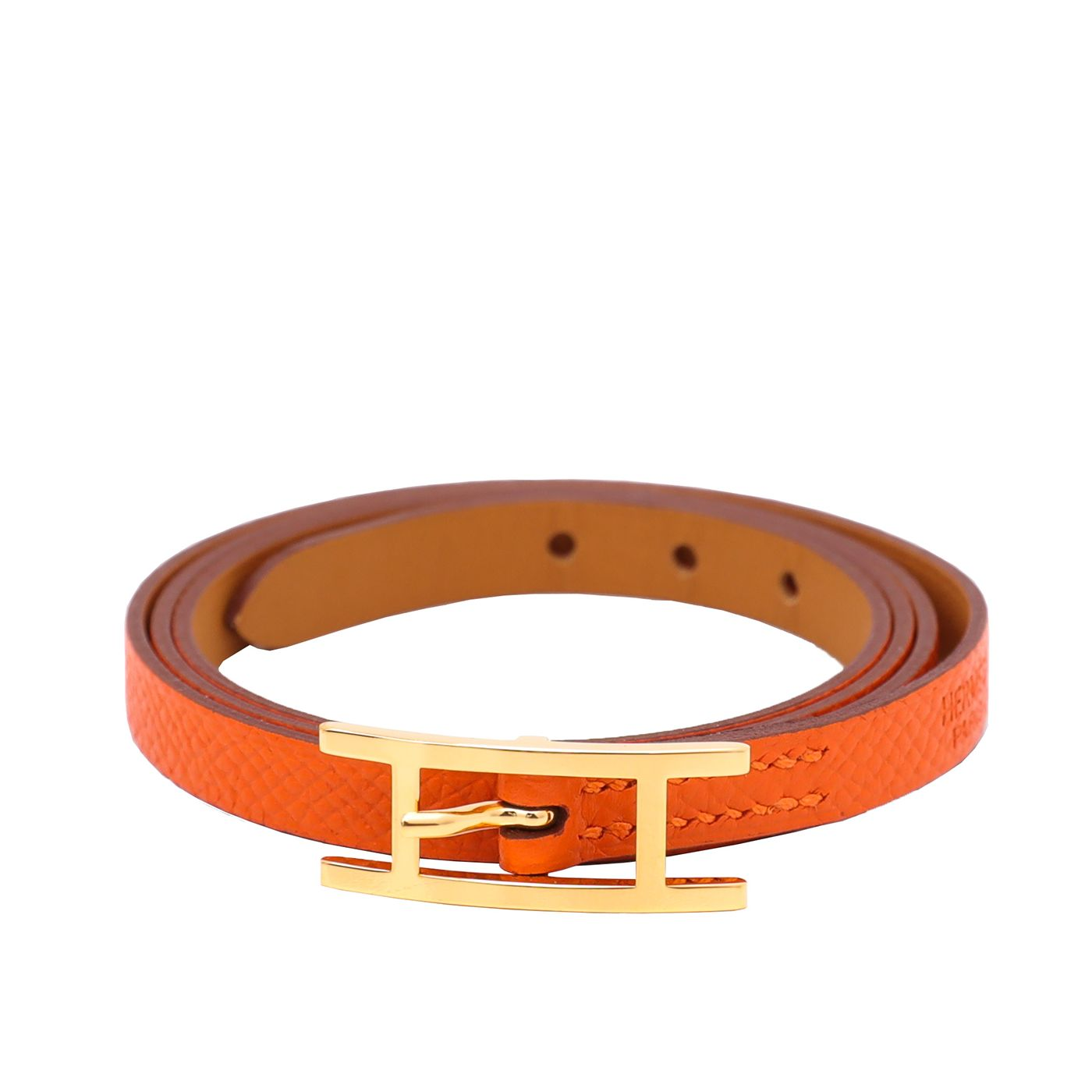 Hermes Orange Hapi 3 Trible Tour Bracelet Small