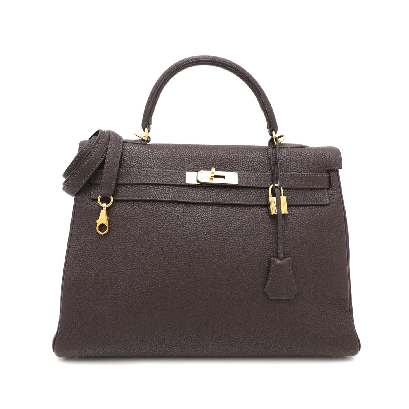 Hermes Chocolate Togo Kelly 35 Bag