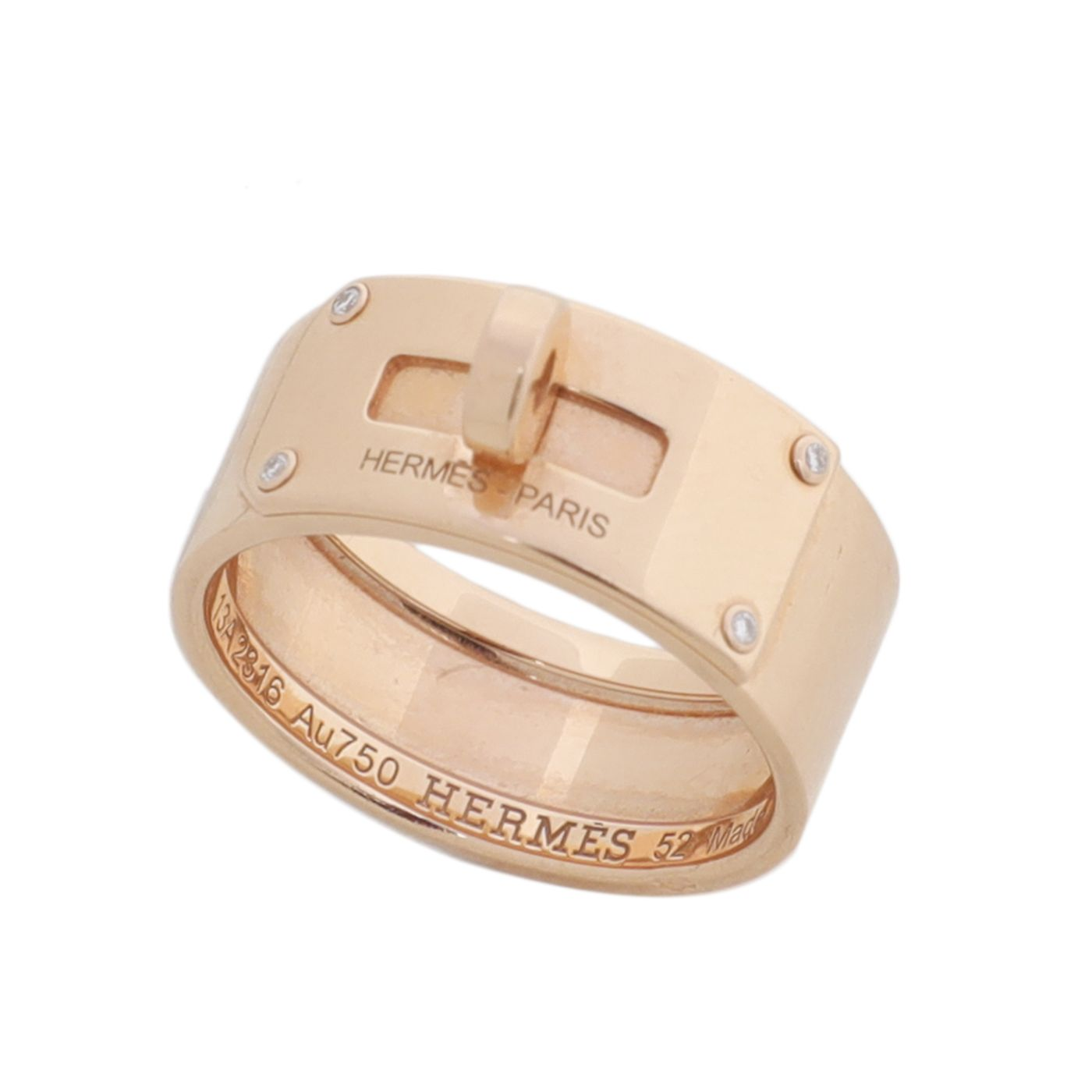 Hermes 18K Rose Gold 4 Diamond Large Kelly Ring 52