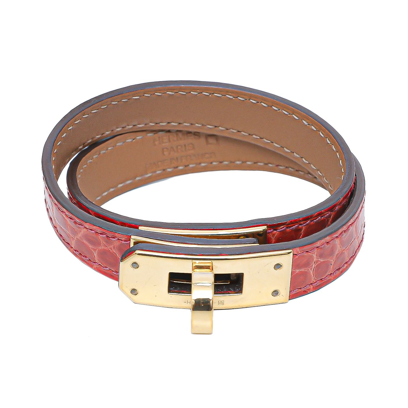 Hermes Geranium Kelly Alligator Double Bracelet