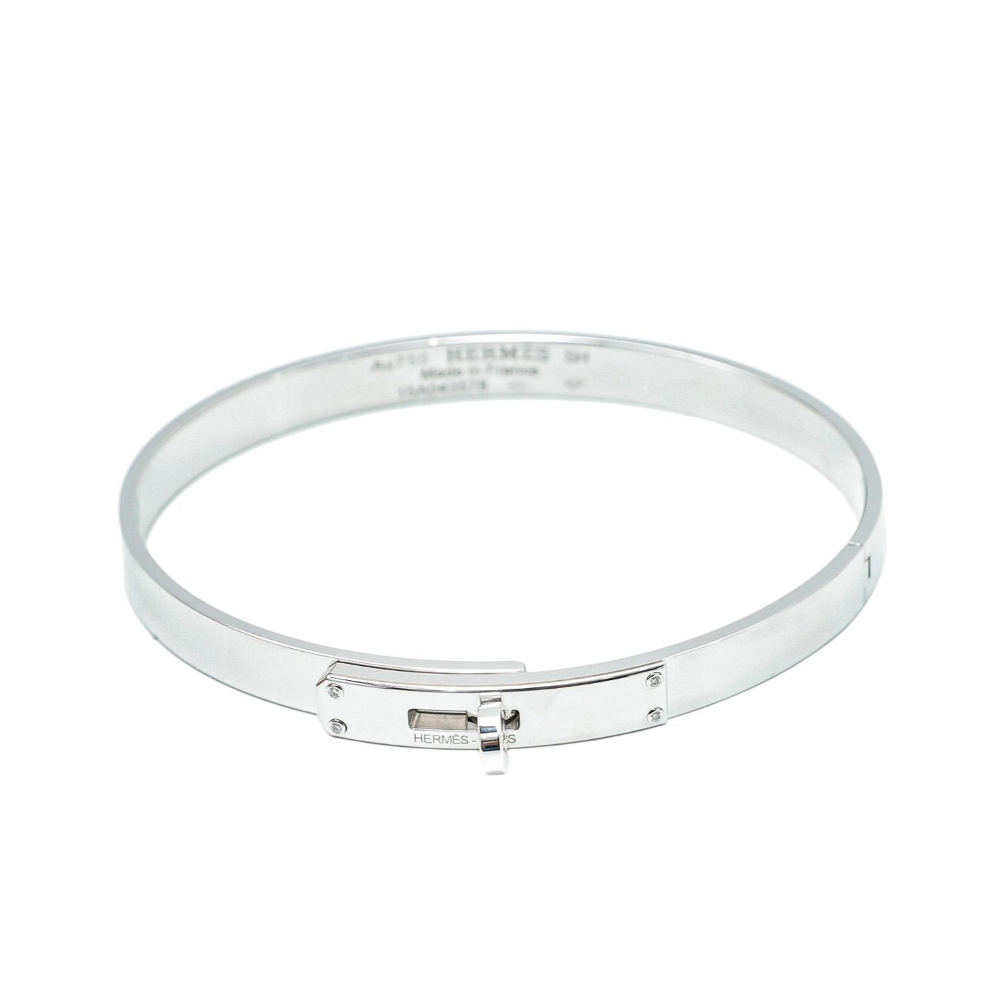 Hermes kelly 18k White Gold Small Bracelet