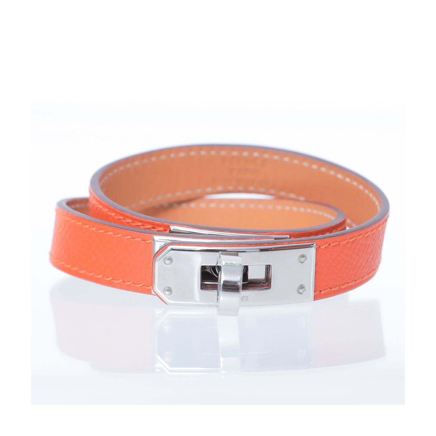 Hermes kelly Orange Double Tour Bracelet Medium
