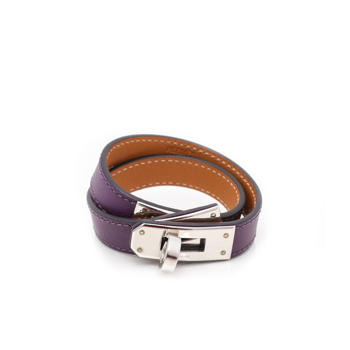 Hermes Violet Kelly Double Tour Bracelet