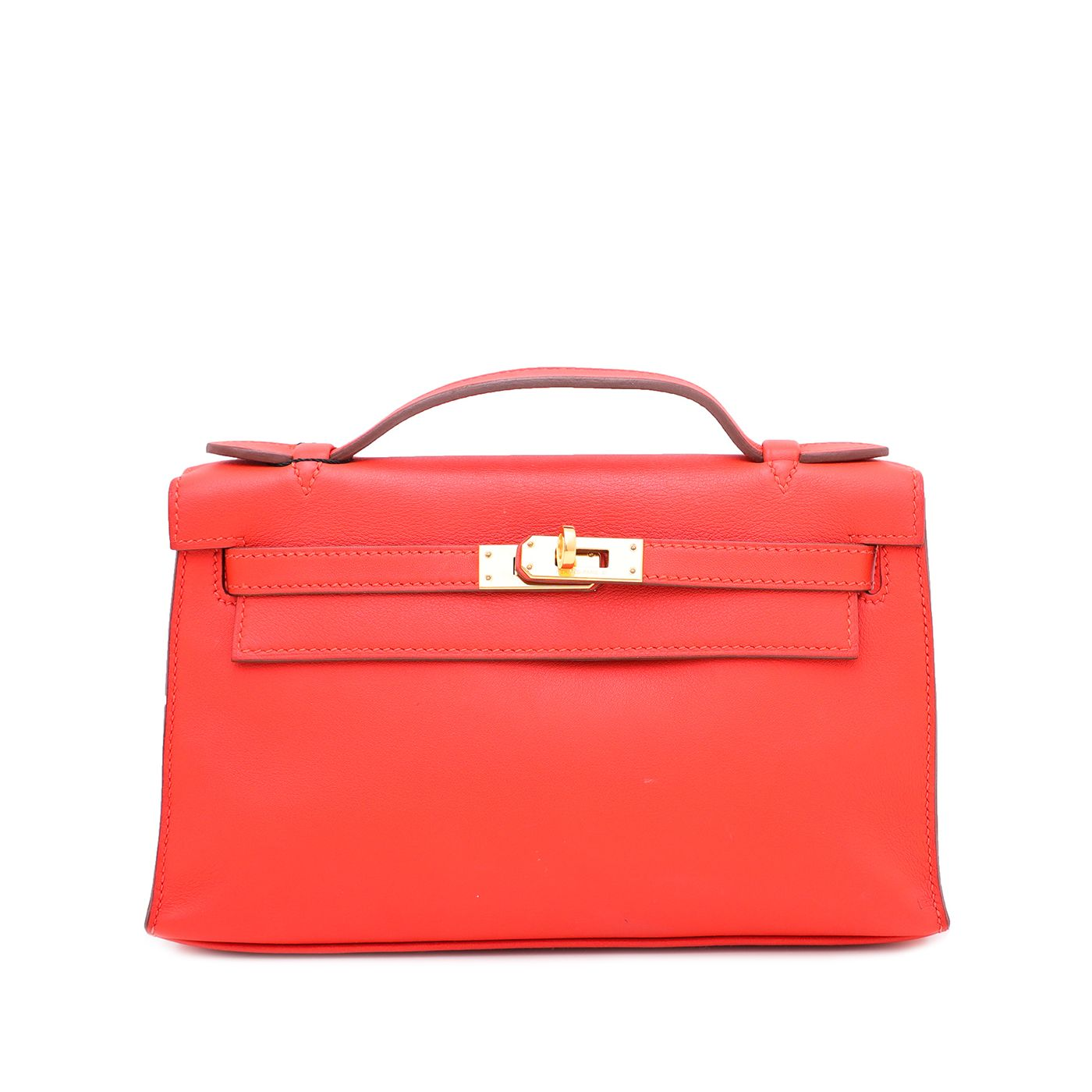 Hermes Vermillion Swift Kelly Pochette Clutch