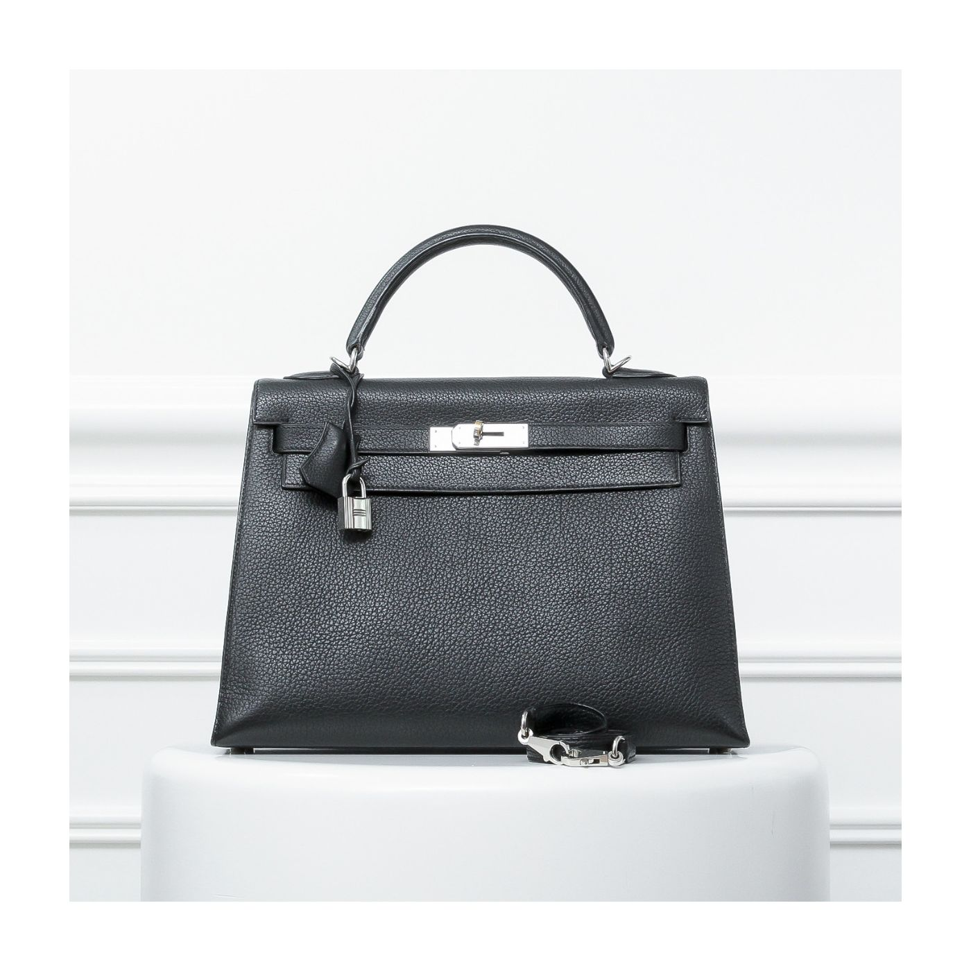 Hermes Kelly Black Sellier Togo 32 Shooting Star Bag