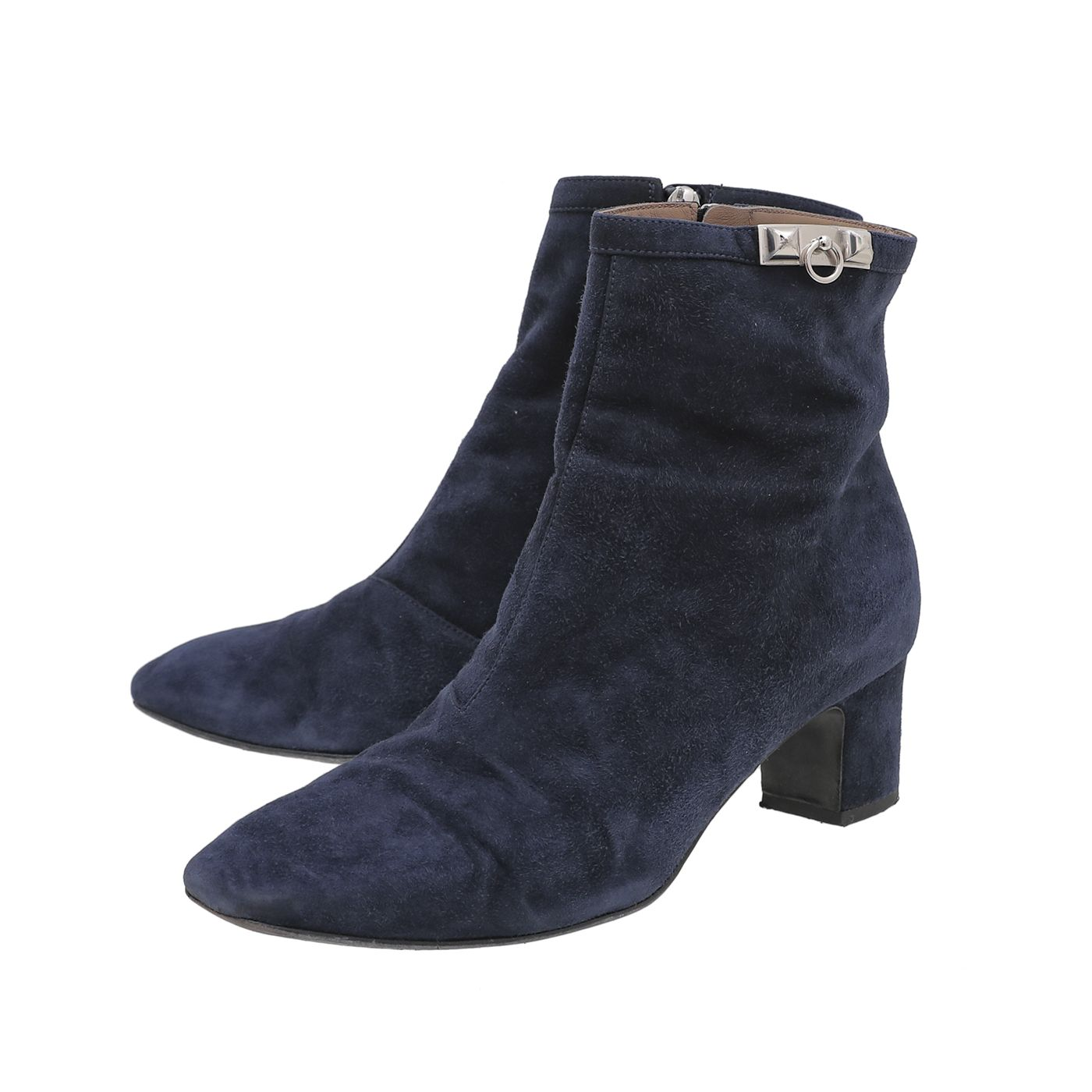 Hermes Navy Blue Suede Power Ankle Boots 38