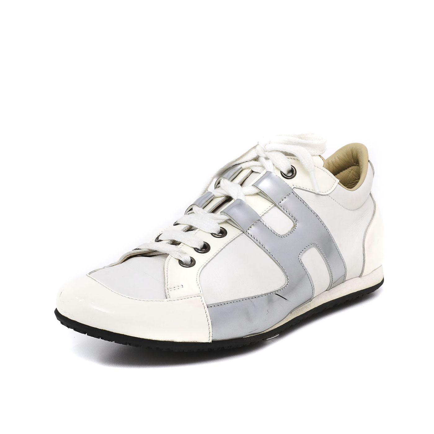 Hermes White in Silver Tie Break Sneakers 37