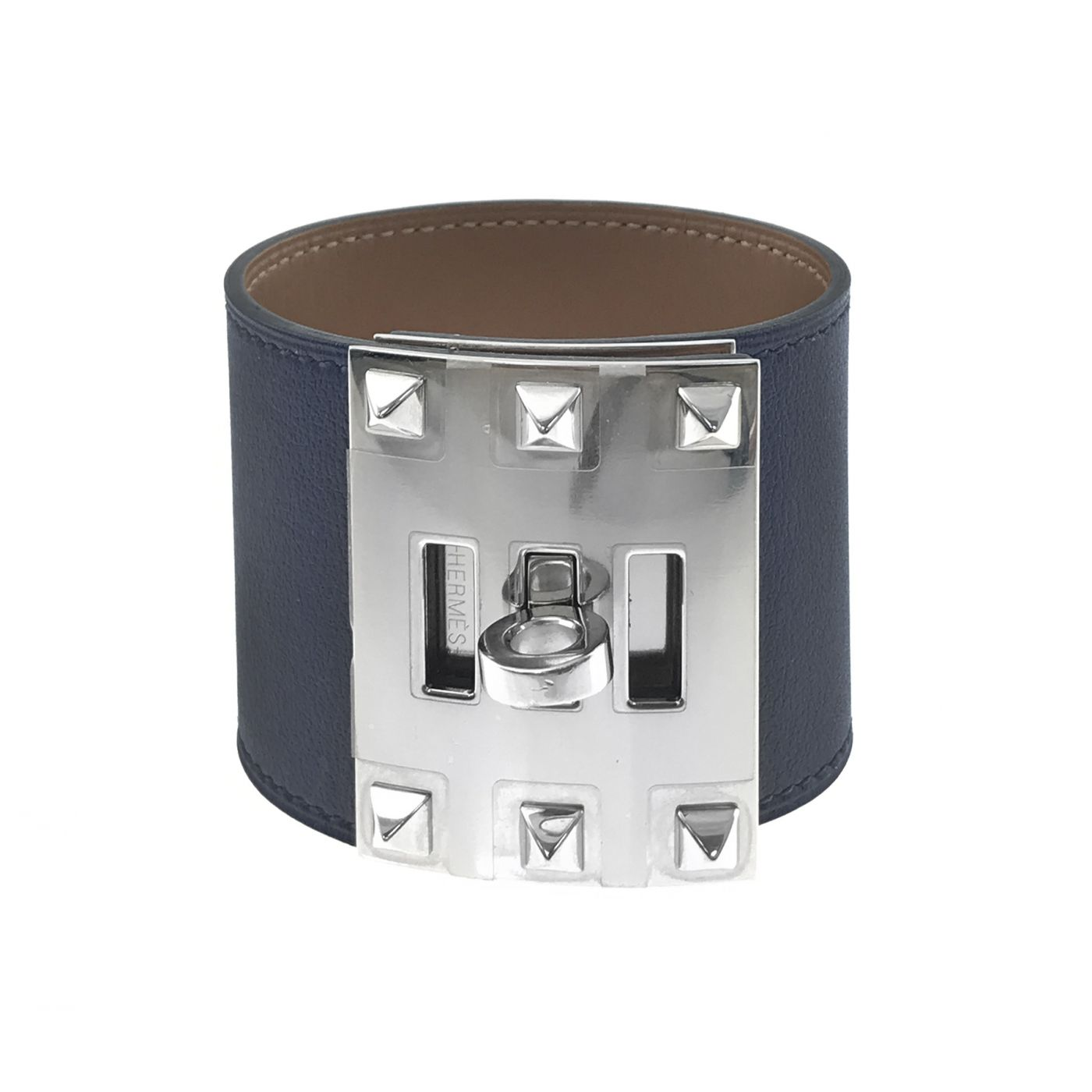 Hermes Navy Blue Kelly Dog Bracelet